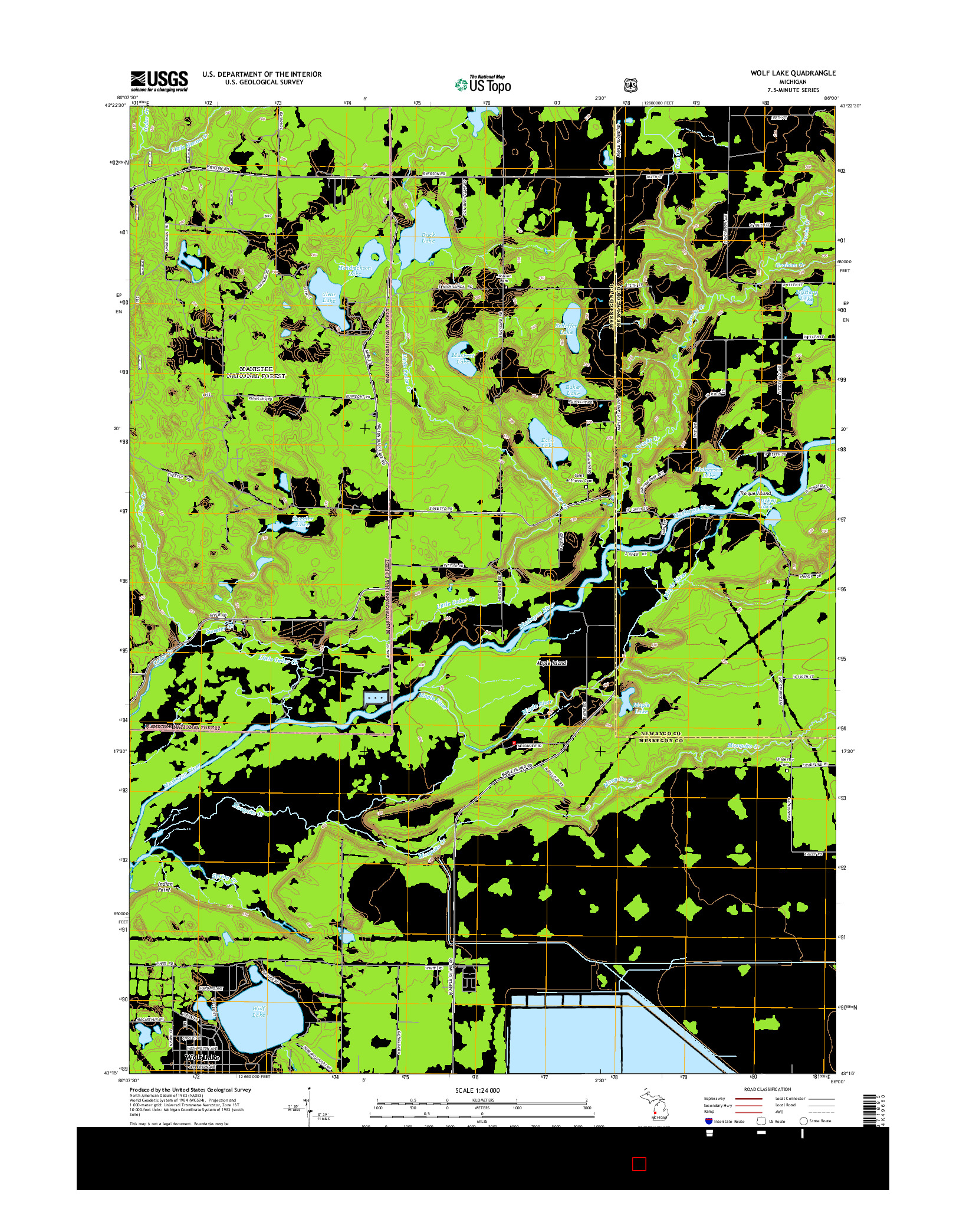 USGS US TOPO 7.5-MINUTE MAP FOR WOLF LAKE, MI 2014