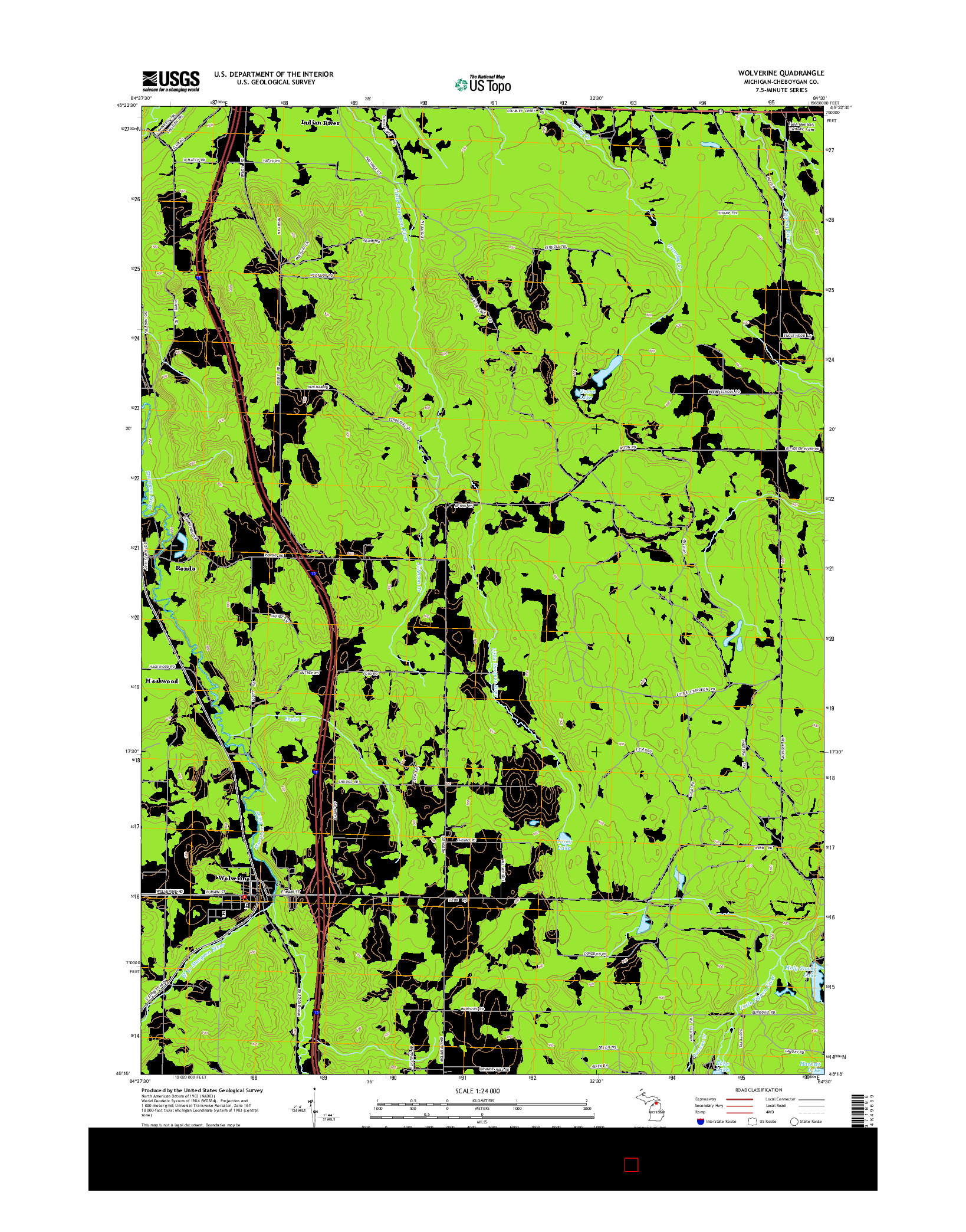 USGS US TOPO 7.5-MINUTE MAP FOR WOLVERINE, MI 2014