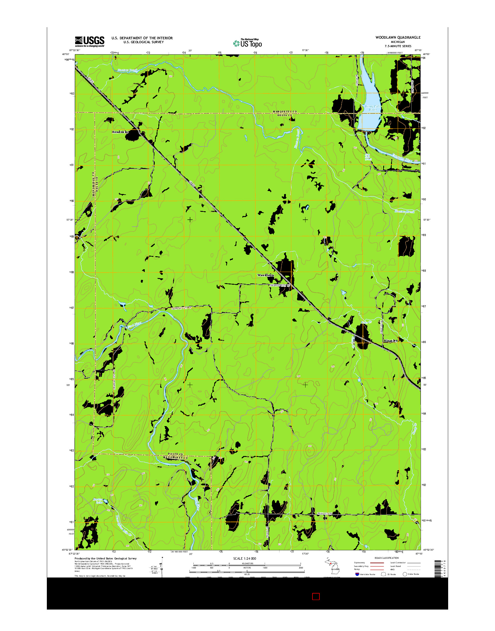 USGS US TOPO 7.5-MINUTE MAP FOR WOODLAWN, MI 2014