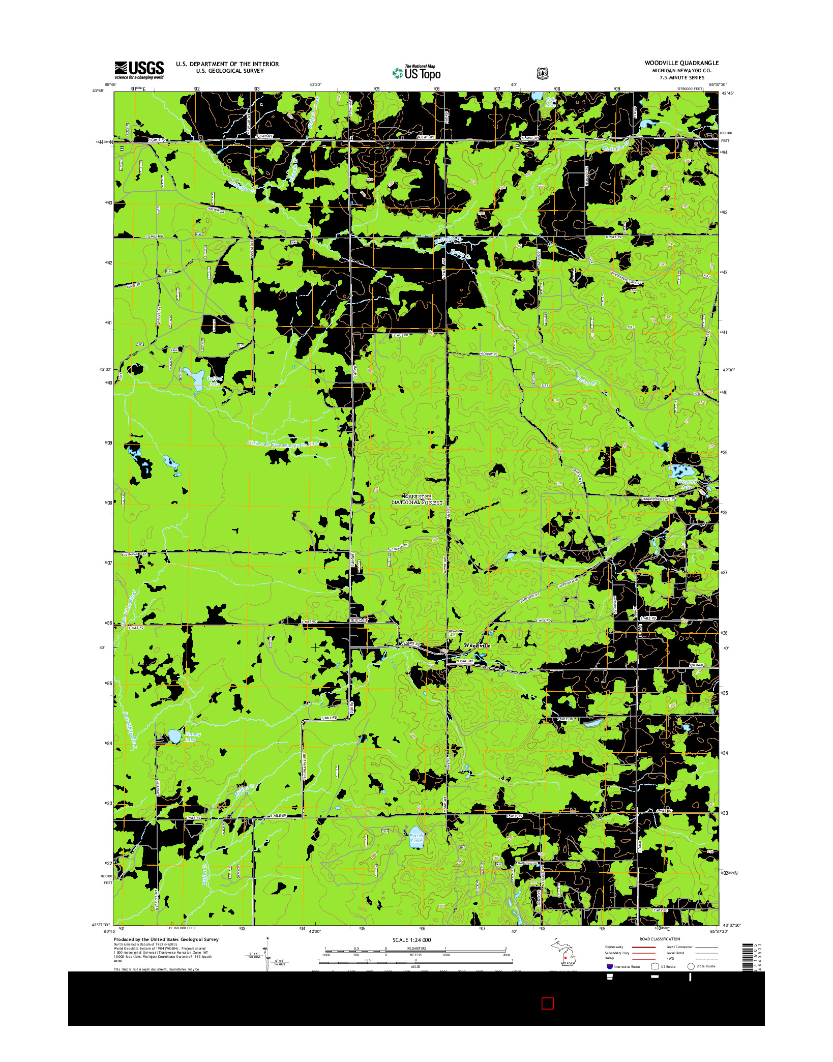 USGS US TOPO 7.5-MINUTE MAP FOR WOODVILLE, MI 2014