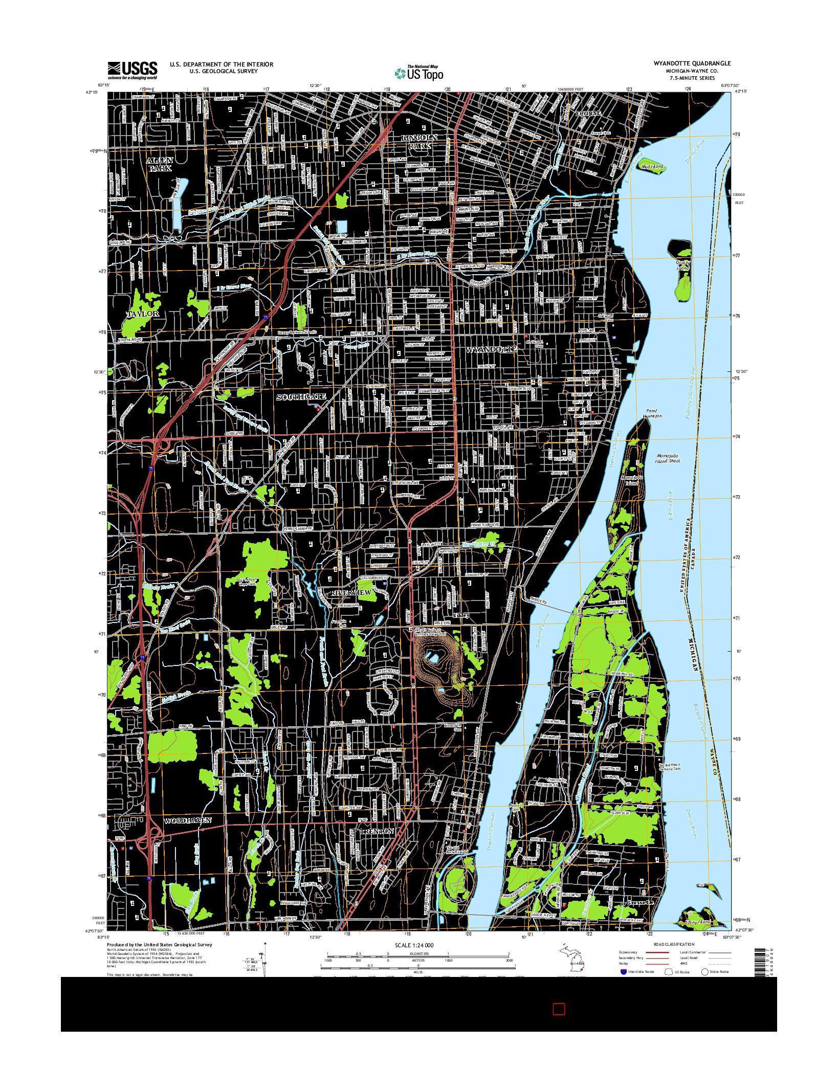 USGS US TOPO 7.5-MINUTE MAP FOR WYANDOTTE, MI 2014