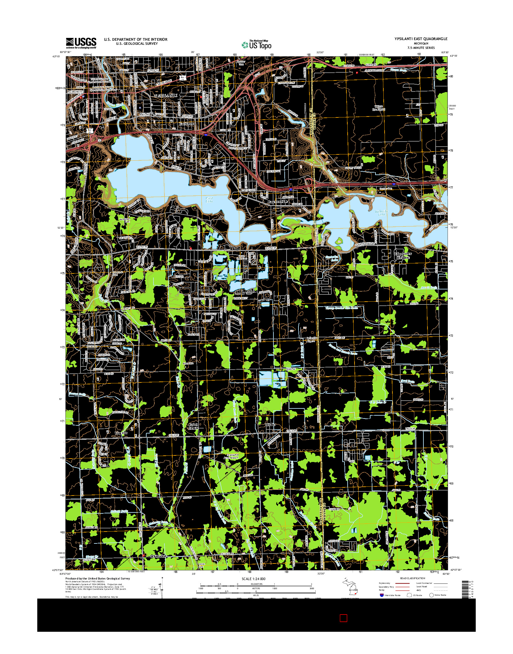USGS US TOPO 7.5-MINUTE MAP FOR YPSILANTI EAST, MI 2014