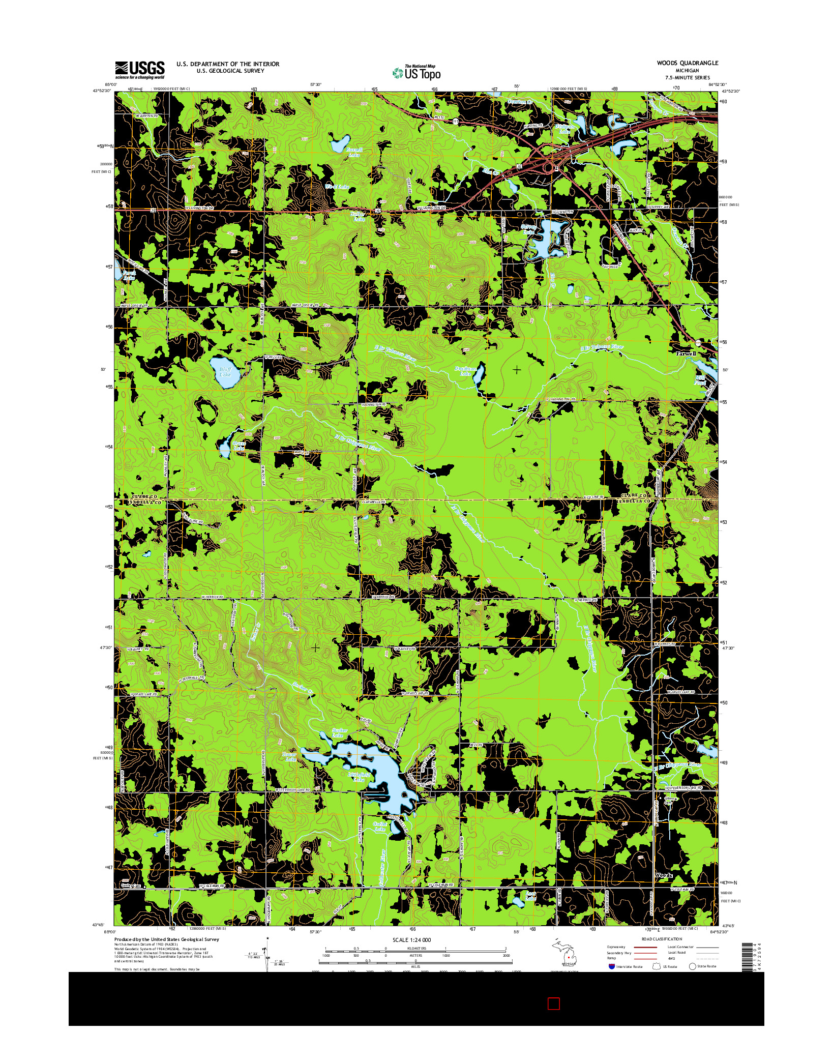 USGS US TOPO 7.5-MINUTE MAP FOR WOODS, MI 2014