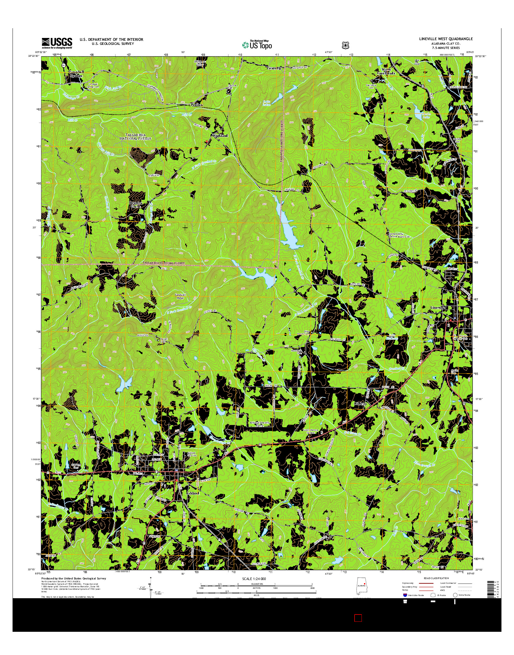 USGS US TOPO 7.5-MINUTE MAP FOR LINEVILLE WEST, AL 2014