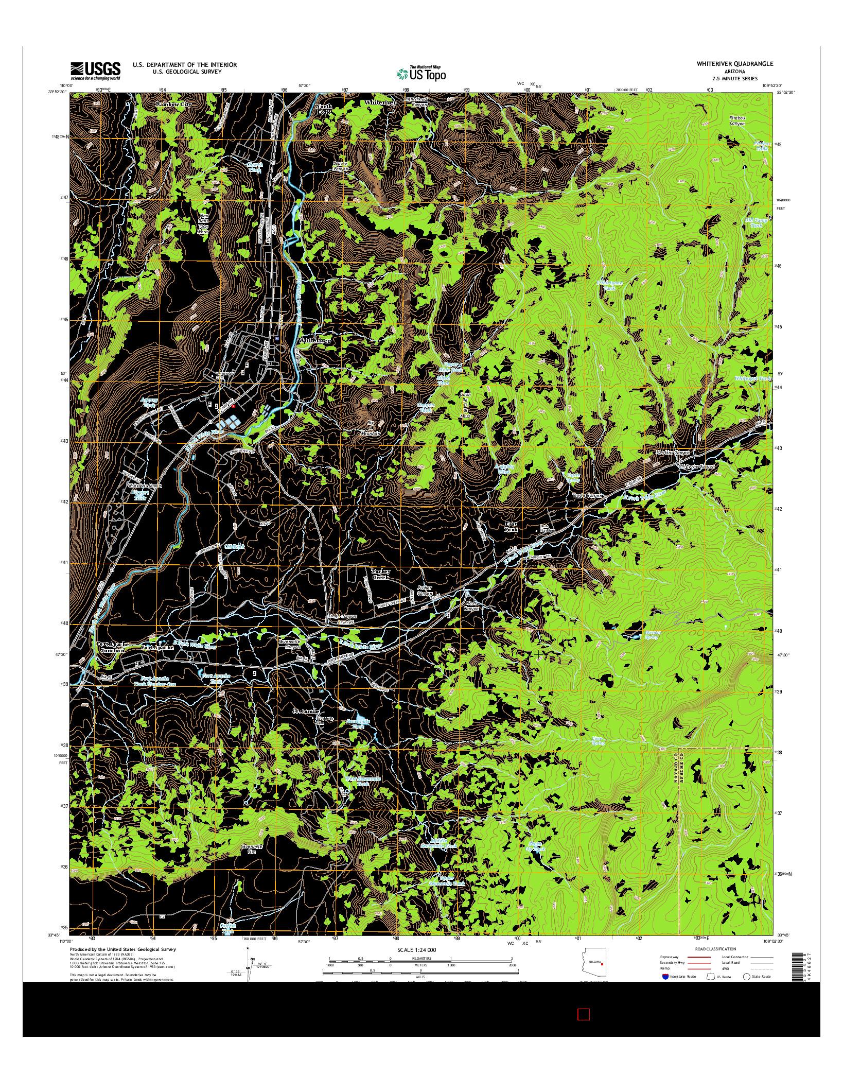 USGS US TOPO 7.5-MINUTE MAP FOR WHITERIVER, AZ 2014