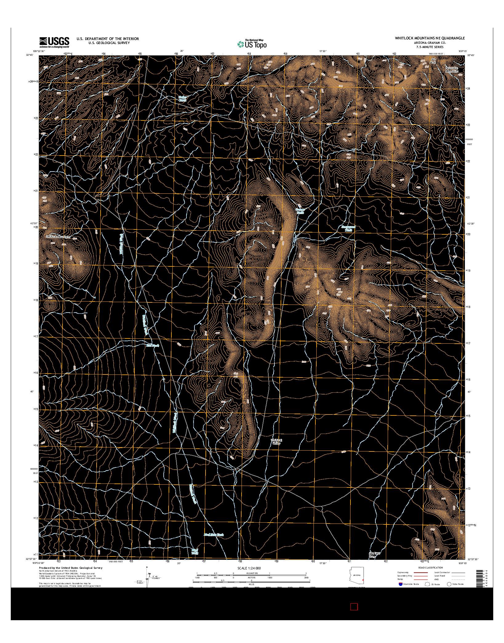 USGS US TOPO 7.5-MINUTE MAP FOR WHITLOCK MOUNTAINS NE, AZ 2014