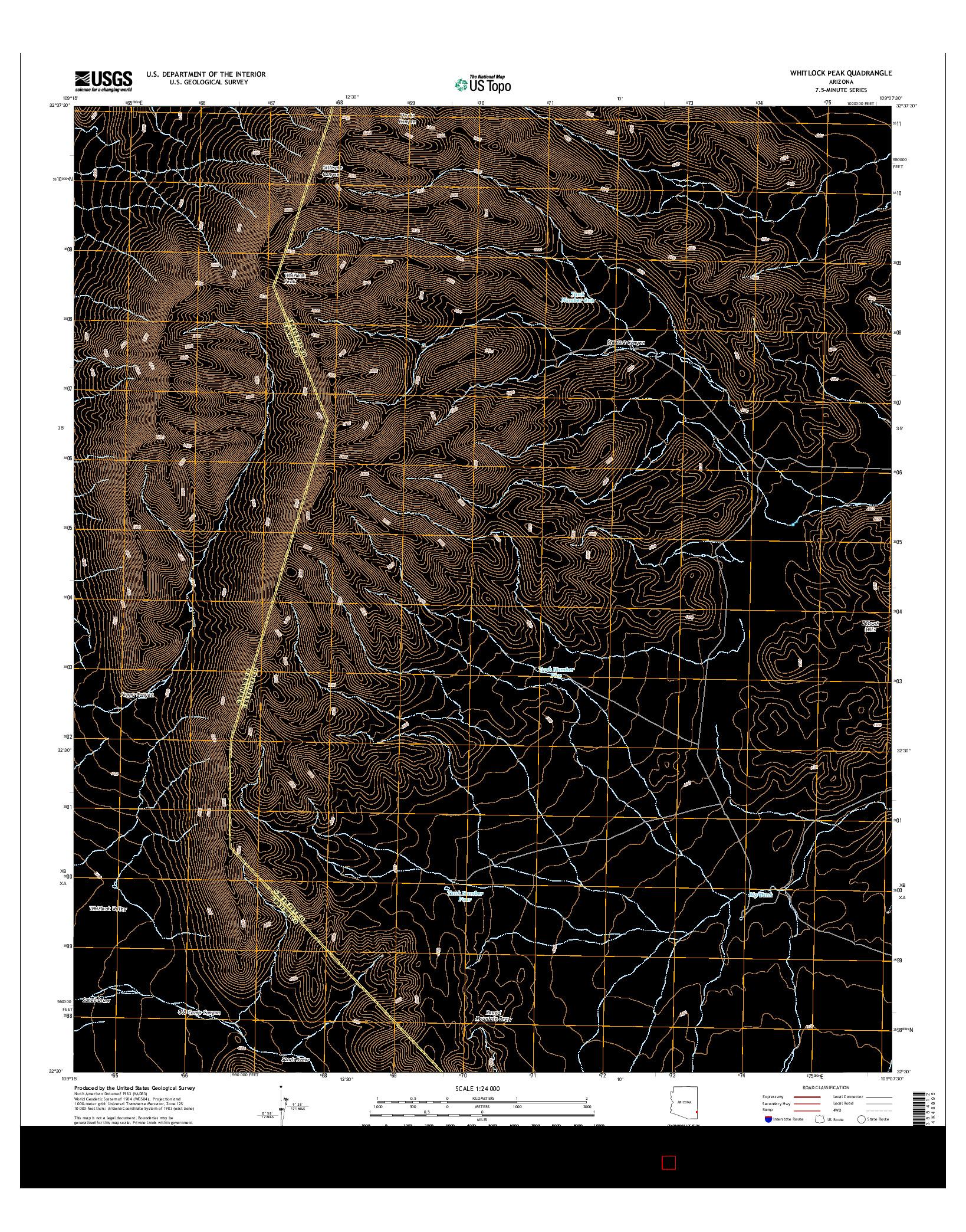USGS US TOPO 7.5-MINUTE MAP FOR WHITLOCK PEAK, AZ 2014