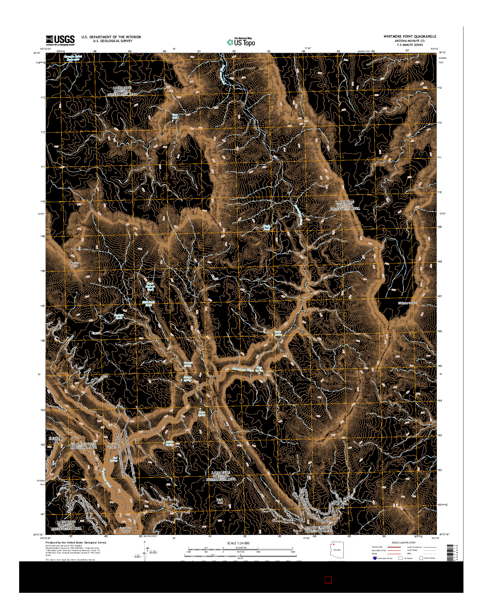 USGS US TOPO 7.5-MINUTE MAP FOR WHITMORE POINT, AZ 2014