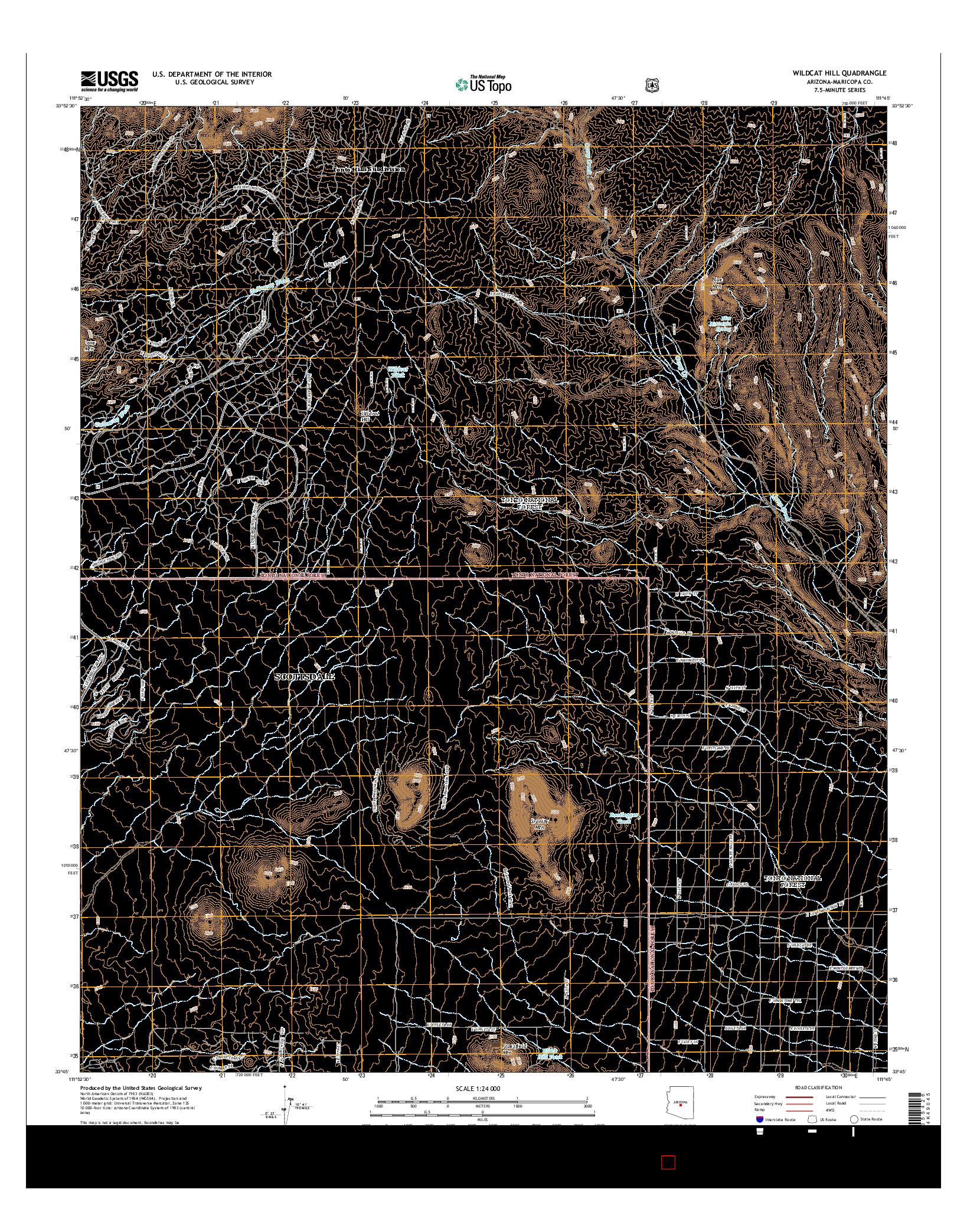 USGS US TOPO 7.5-MINUTE MAP FOR WILDCAT HILL, AZ 2014