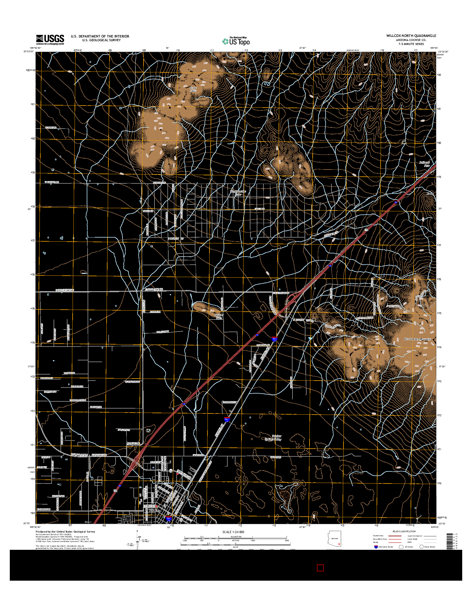 USGS US TOPO 7.5-MINUTE MAP FOR WILLCOX NORTH, AZ 2014