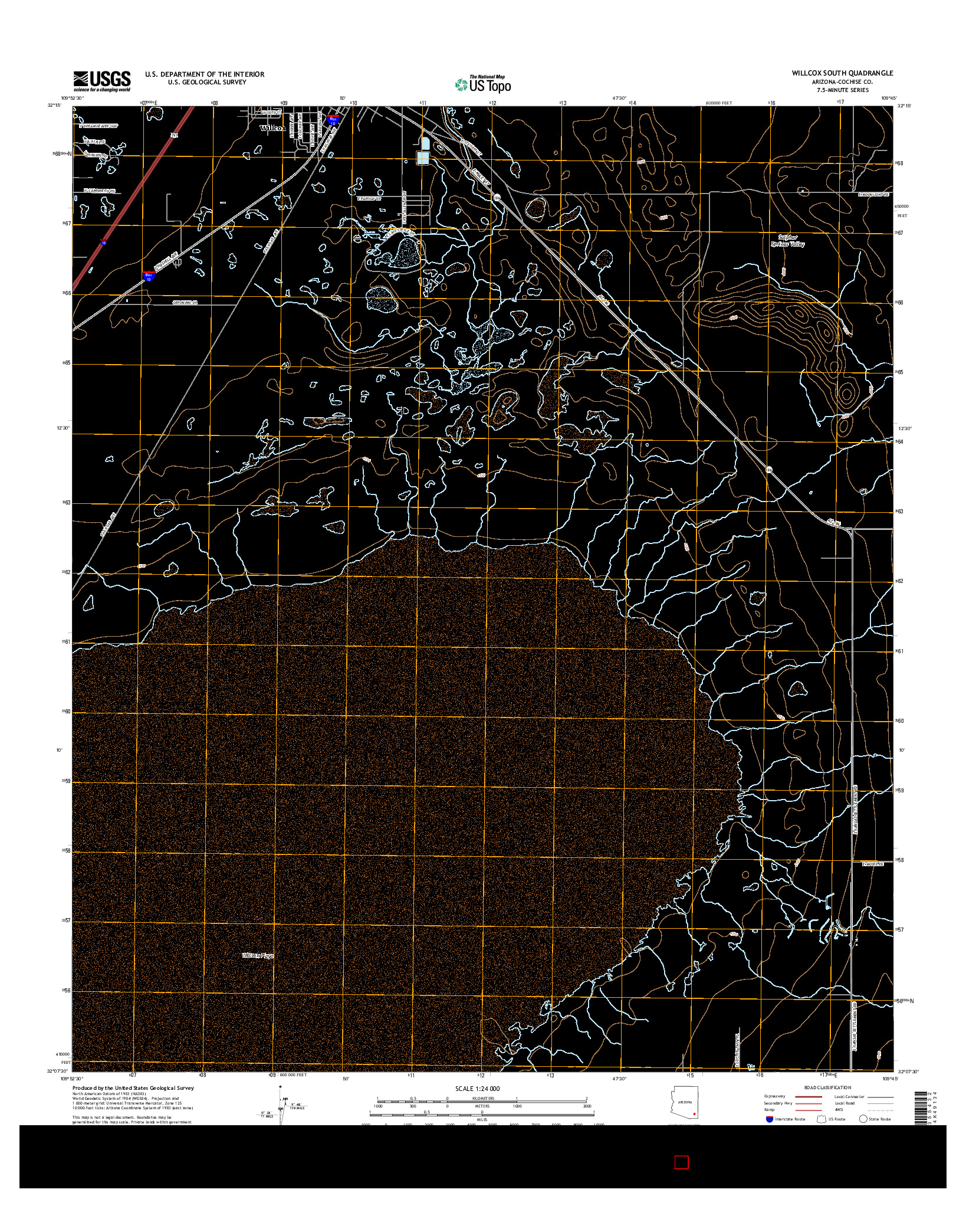 USGS US TOPO 7.5-MINUTE MAP FOR WILLCOX SOUTH, AZ 2014