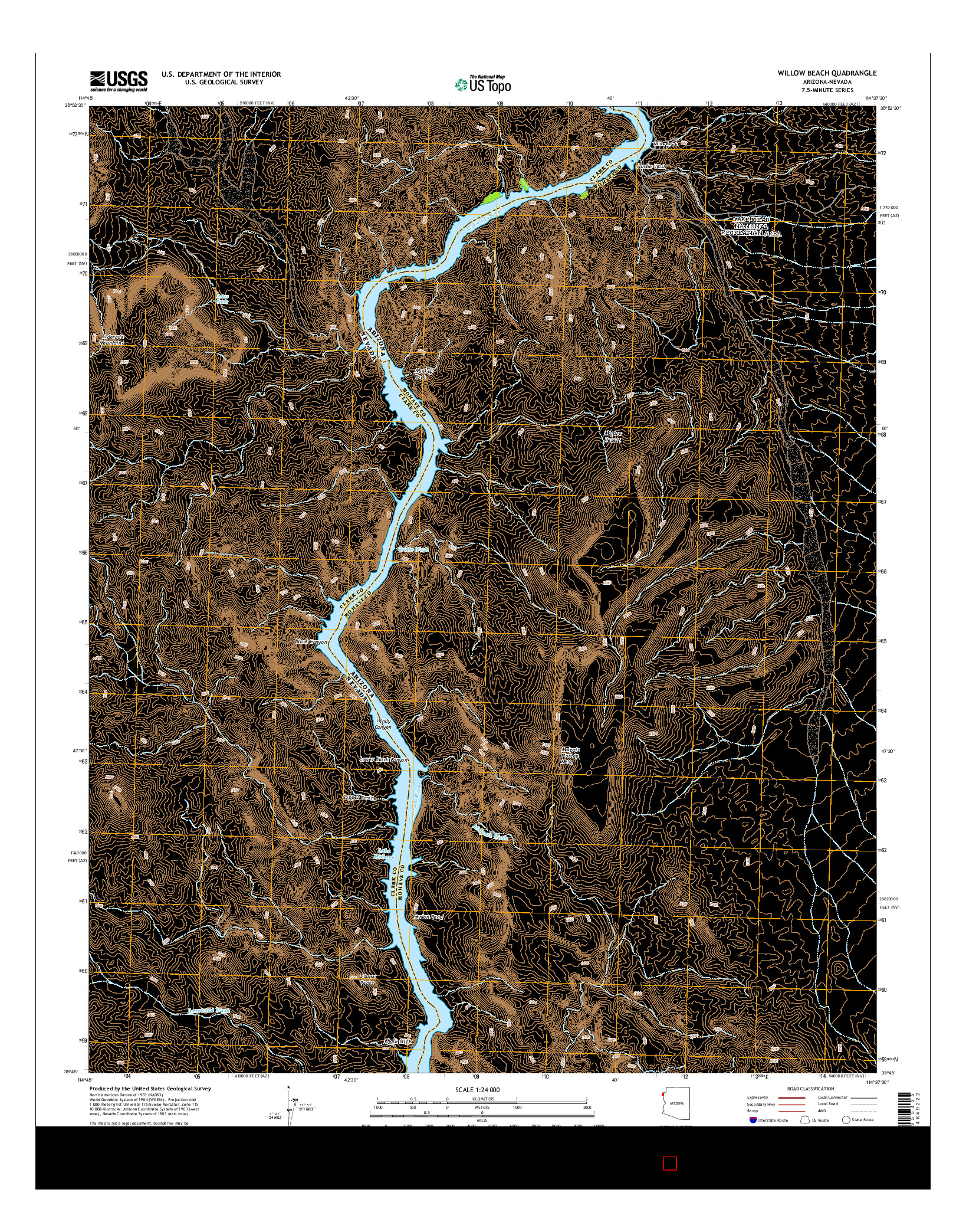 USGS US TOPO 7.5-MINUTE MAP FOR WILLOW BEACH, AZ-NV 2014