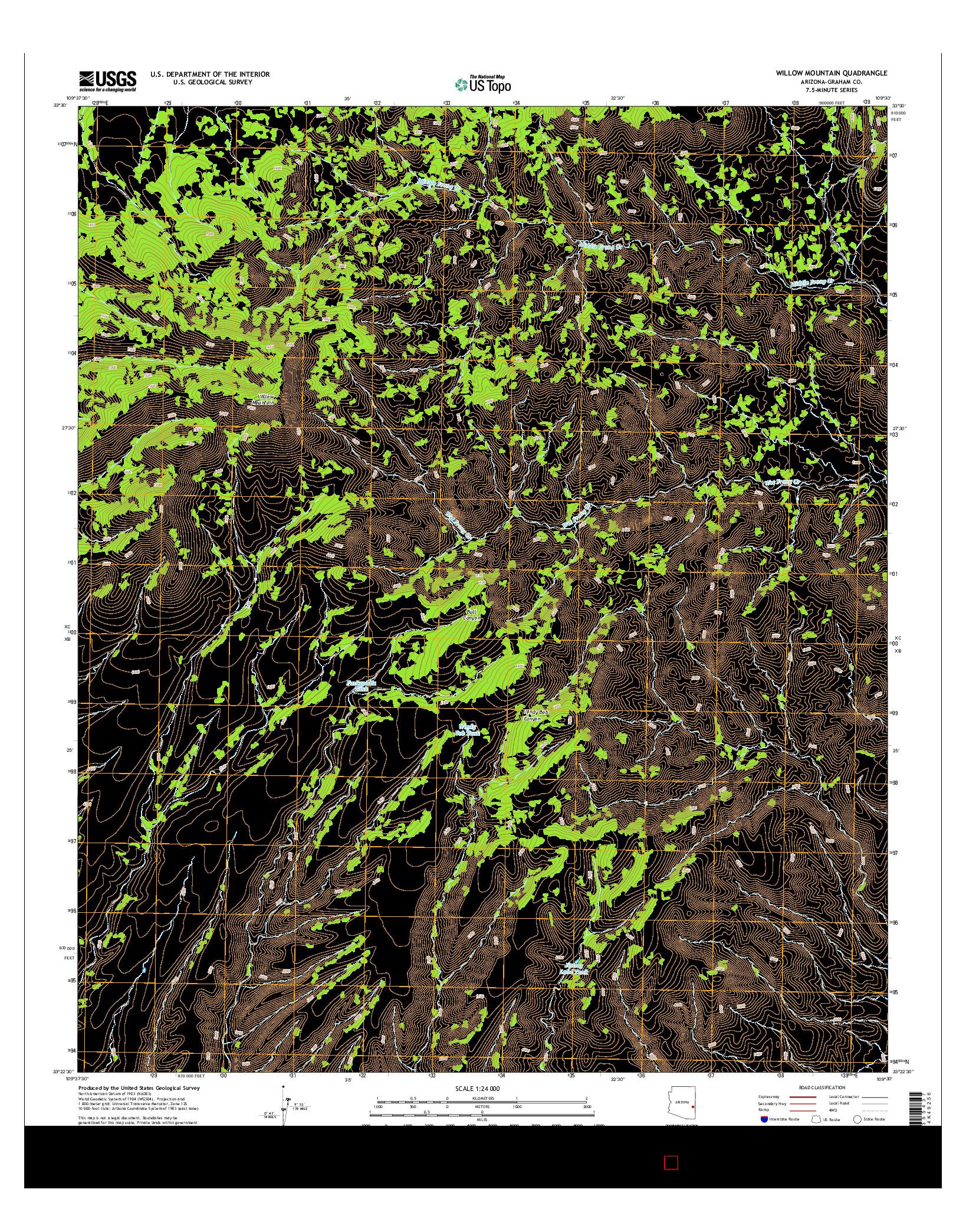 USGS US TOPO 7.5-MINUTE MAP FOR WILLOW MOUNTAIN, AZ 2014