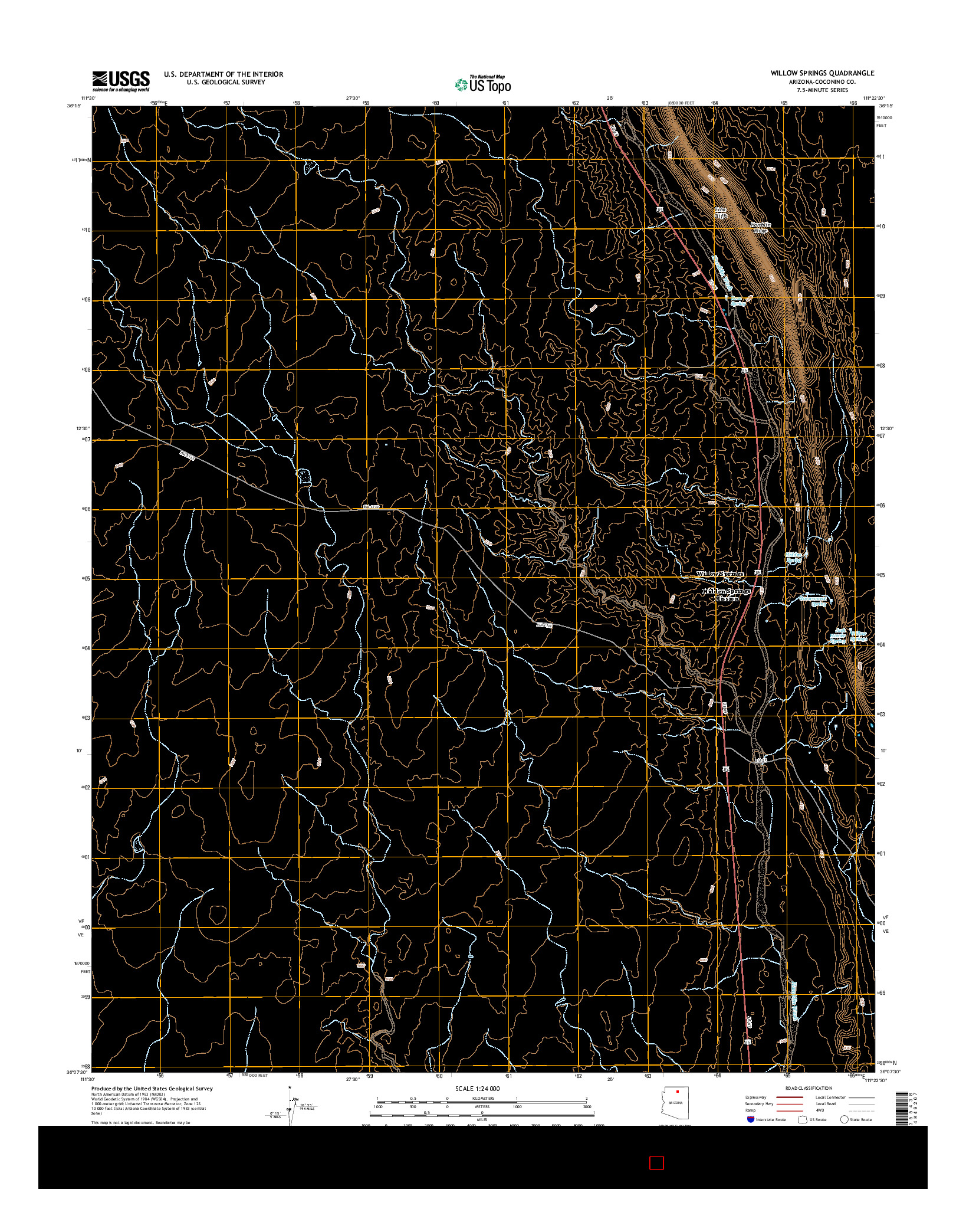 USGS US TOPO 7.5-MINUTE MAP FOR WILLOW SPRINGS, AZ 2014