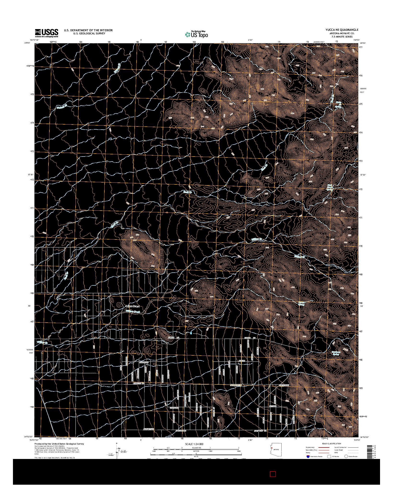 USGS US TOPO 7.5-MINUTE MAP FOR YUCCA NE, AZ 2014