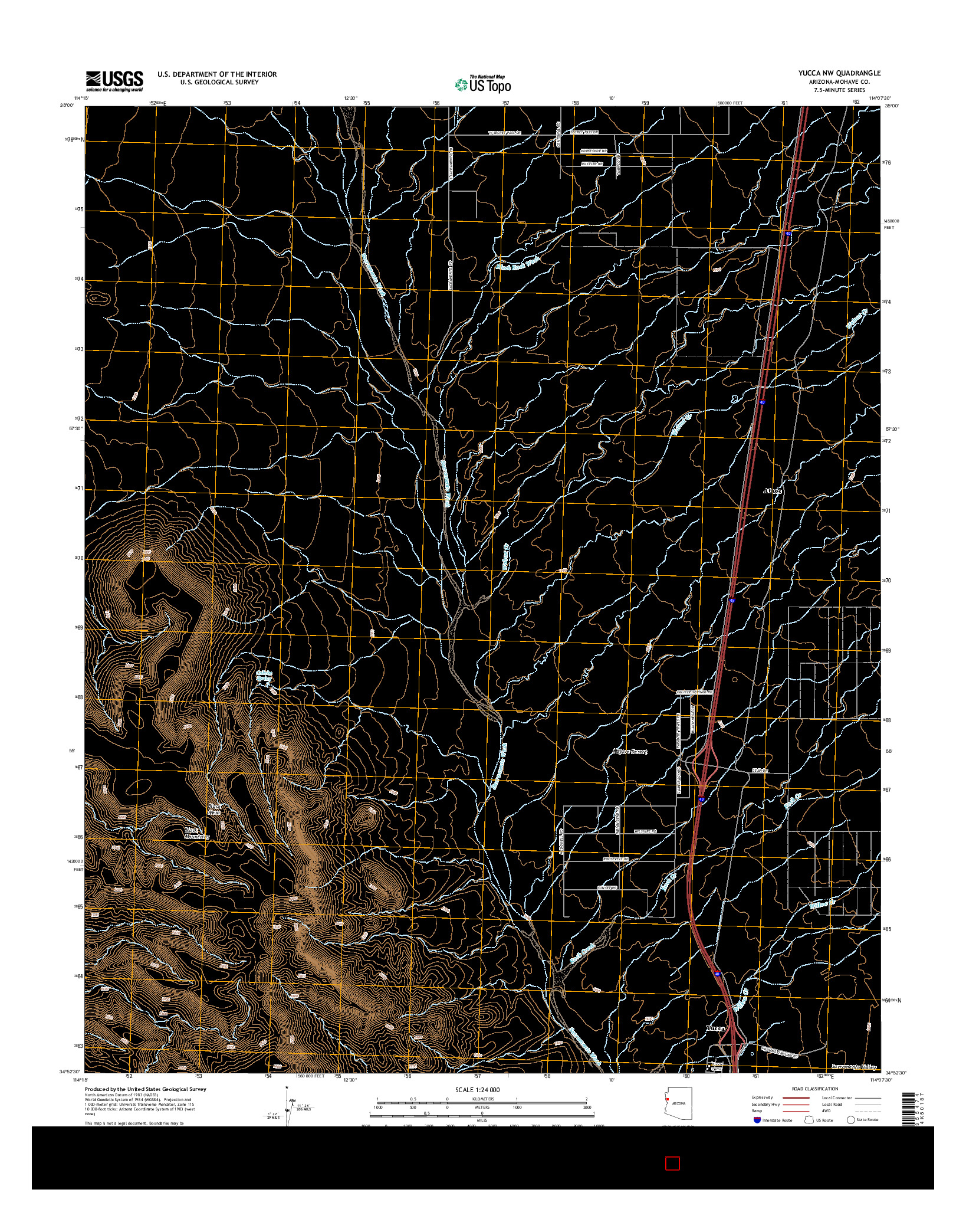 USGS US TOPO 7.5-MINUTE MAP FOR YUCCA NW, AZ 2014