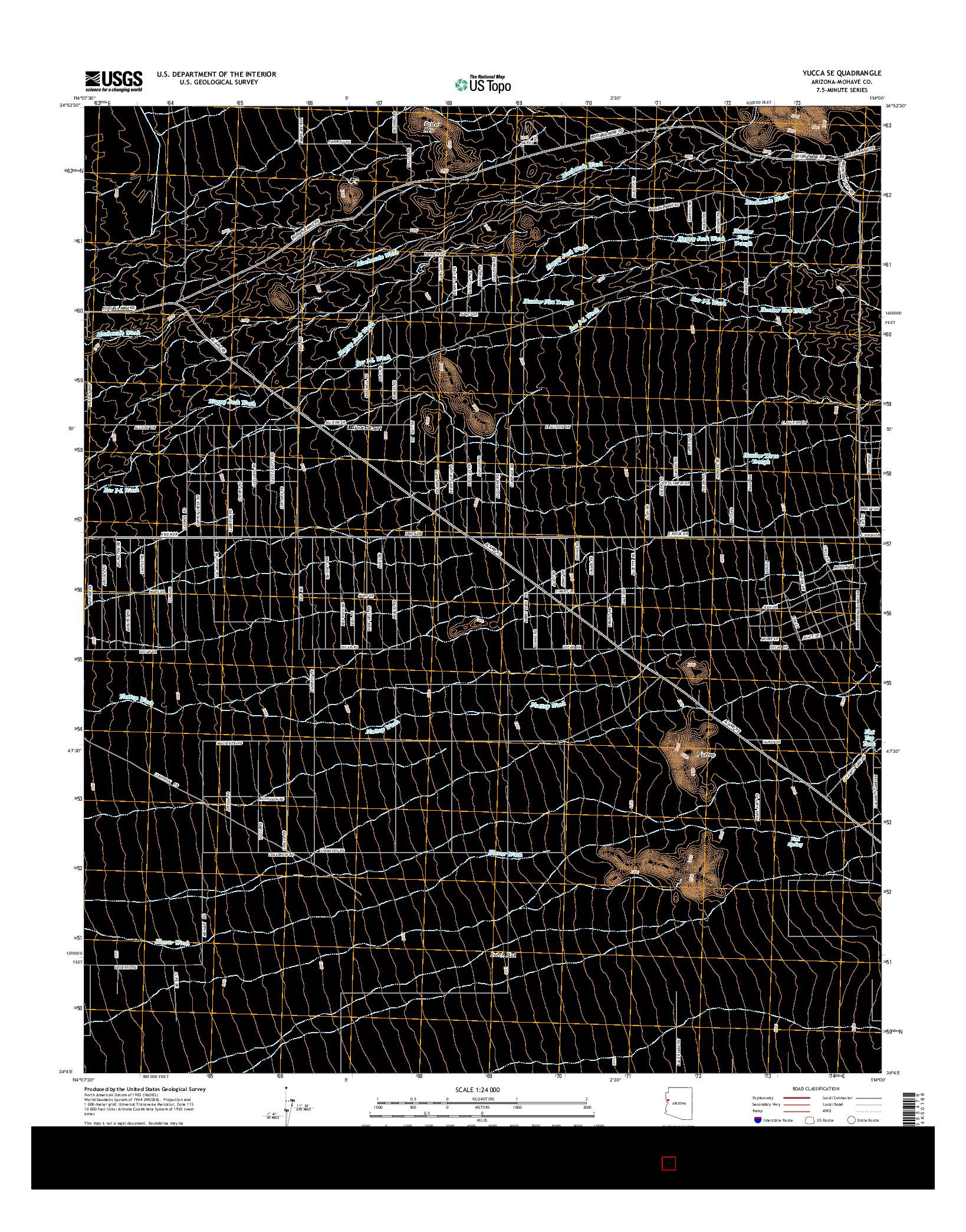 USGS US TOPO 7.5-MINUTE MAP FOR YUCCA SE, AZ 2014