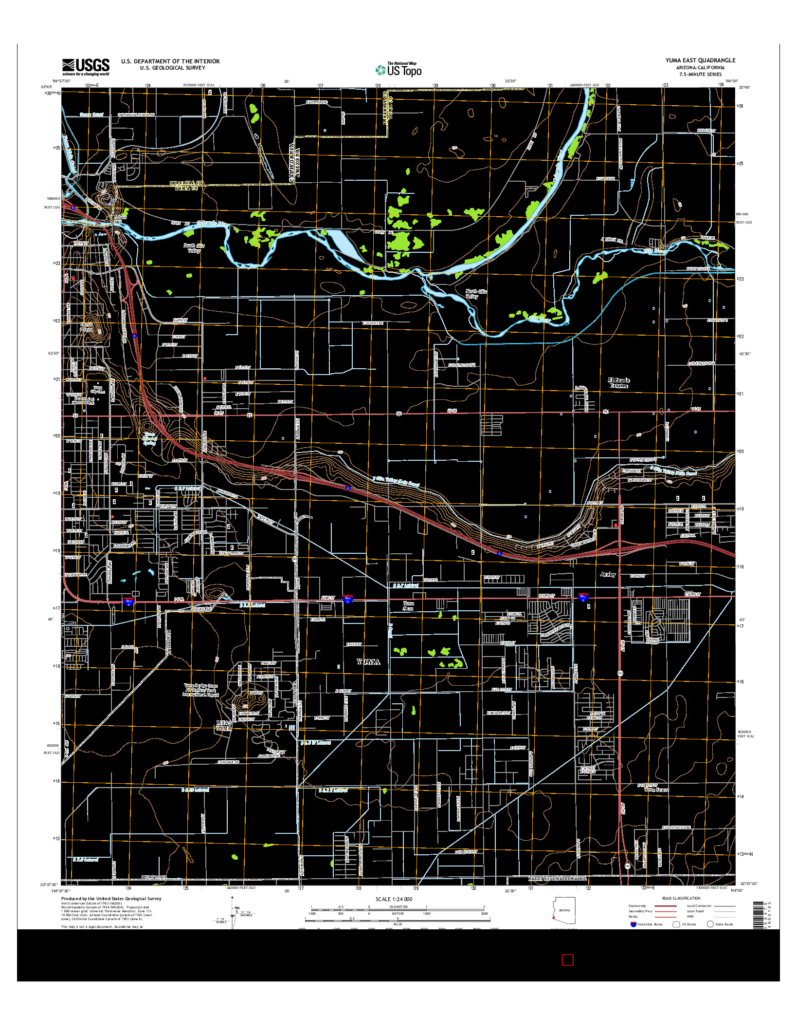 USGS US TOPO 7.5-MINUTE MAP FOR YUMA EAST, AZ-CA 2014