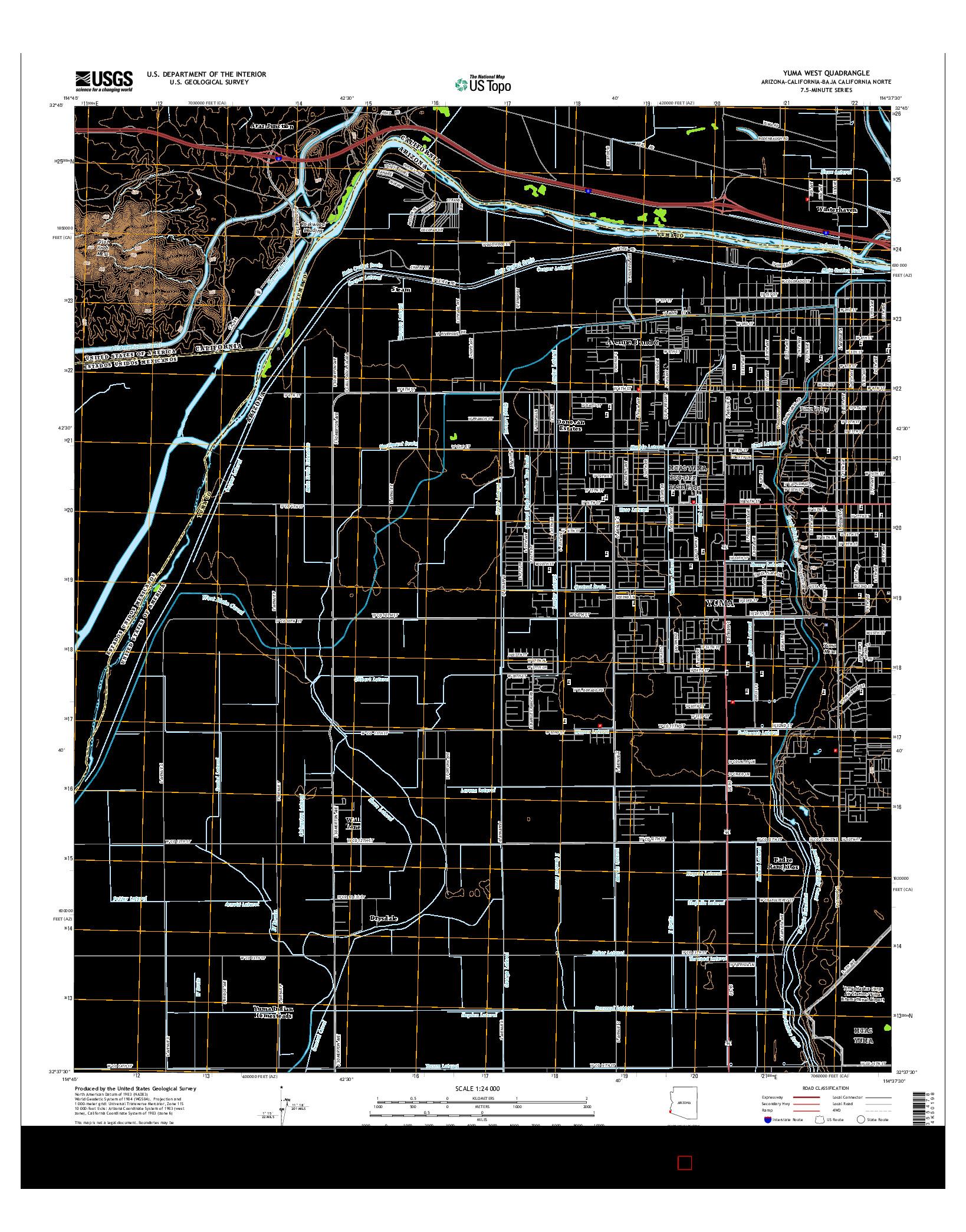 USGS US TOPO 7.5-MINUTE MAP FOR YUMA WEST, AZ-CA-BCN 2014