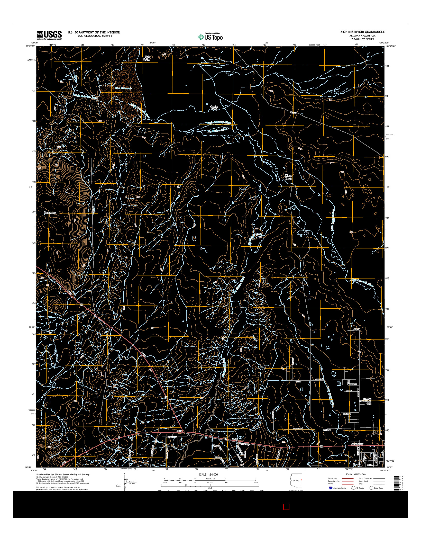 USGS US TOPO 7.5-MINUTE MAP FOR ZION RESERVOIR, AZ 2014