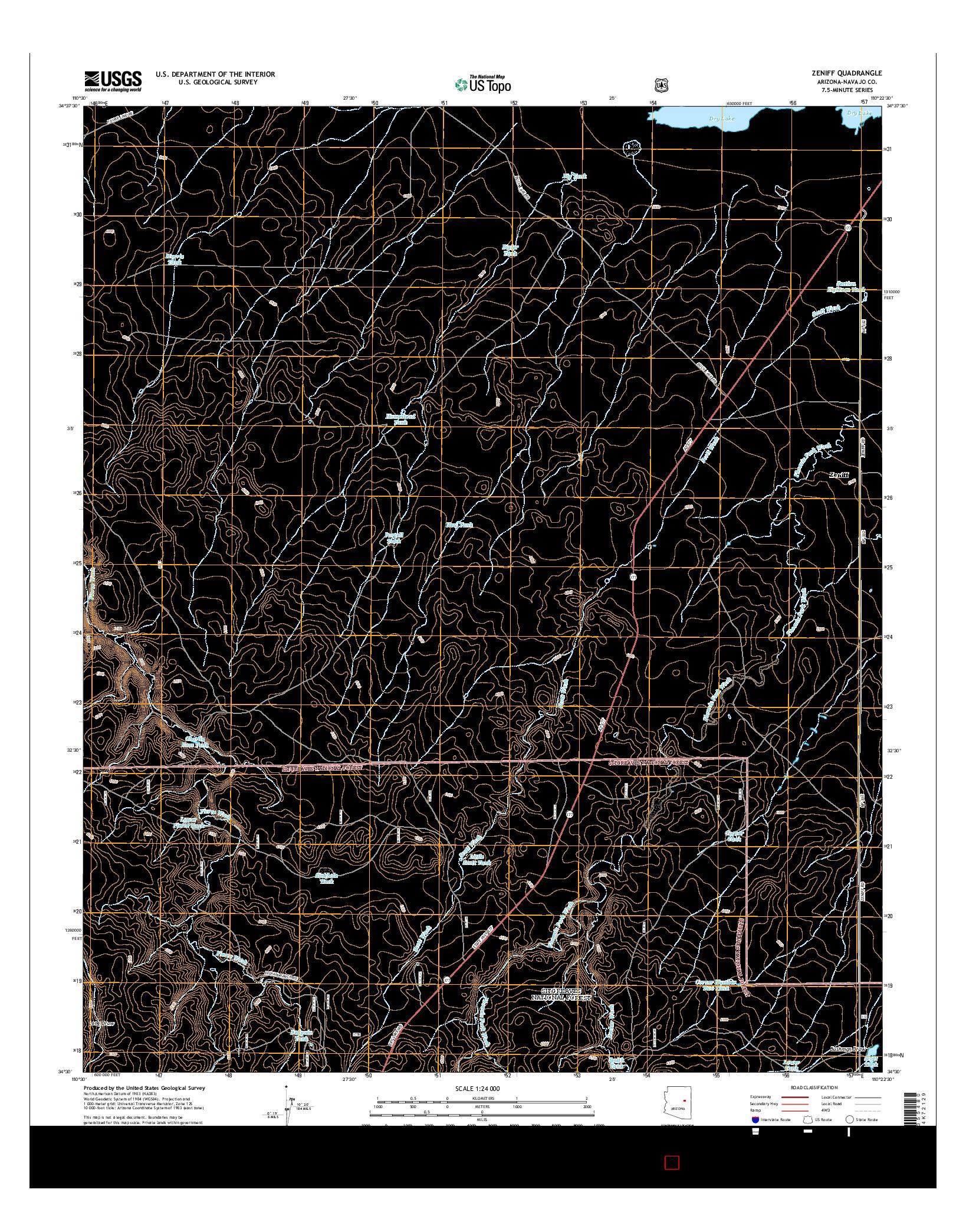 USGS US TOPO 7.5-MINUTE MAP FOR ZENIFF, AZ 2014
