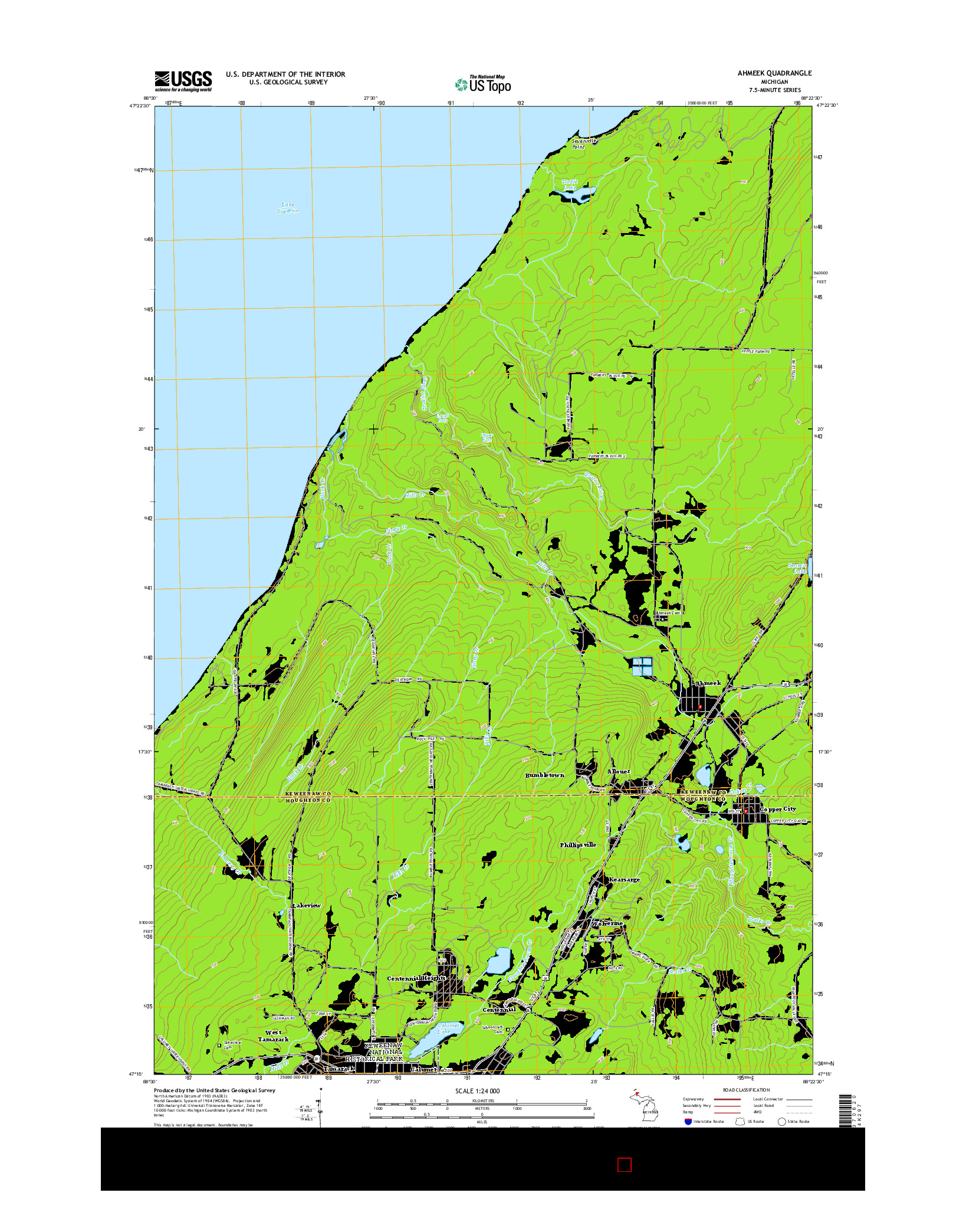 USGS US TOPO 7.5-MINUTE MAP FOR AHMEEK, MI 2014