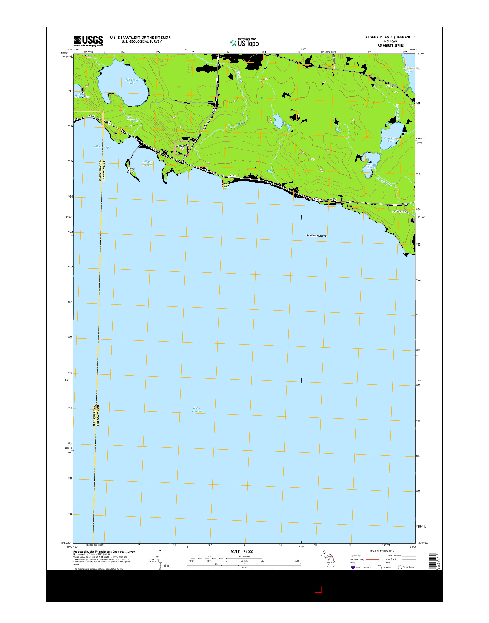 USGS US TOPO 7.5-MINUTE MAP FOR ALBANY ISLAND, MI 2014