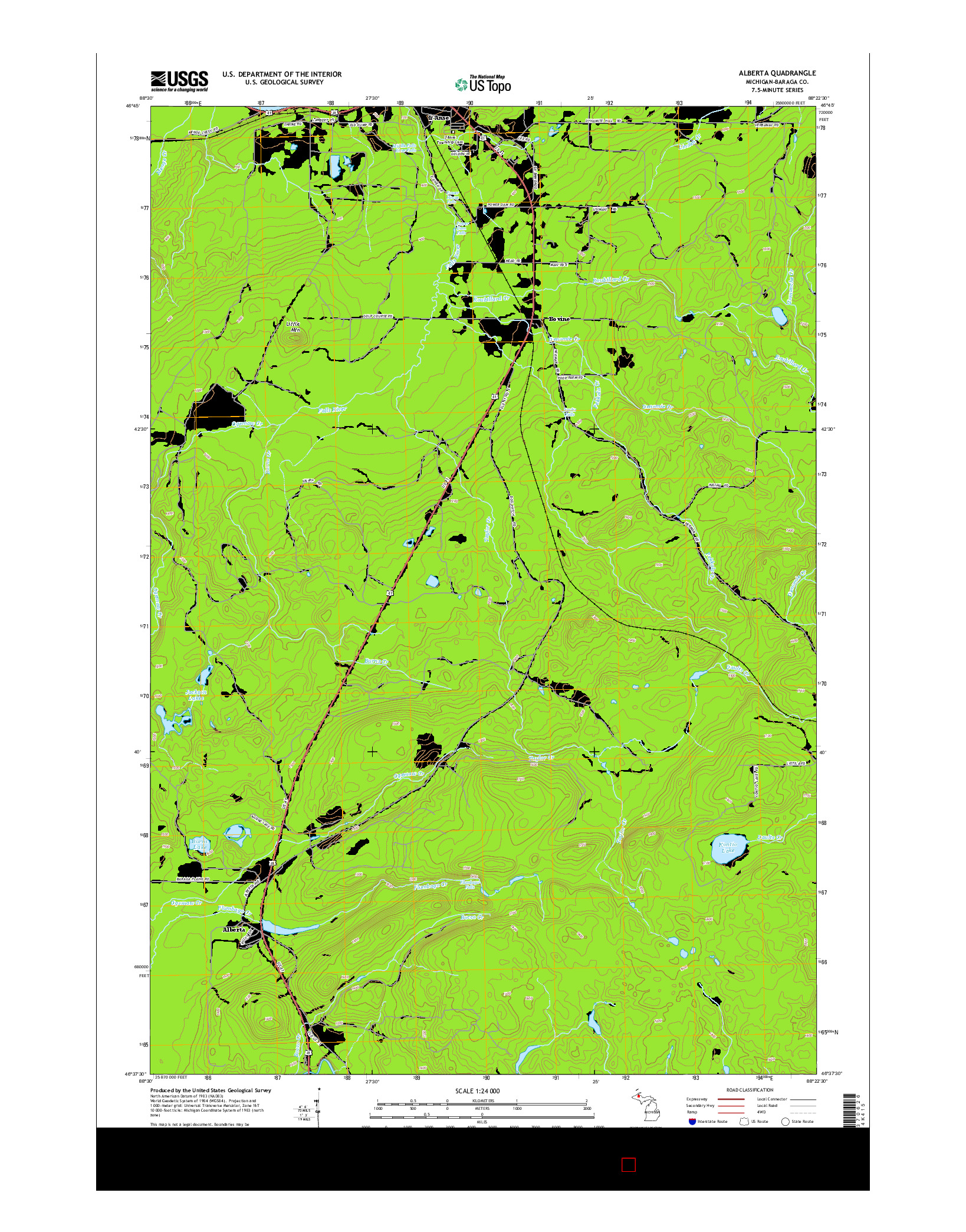 USGS US TOPO 7.5-MINUTE MAP FOR ALBERTA, MI 2014