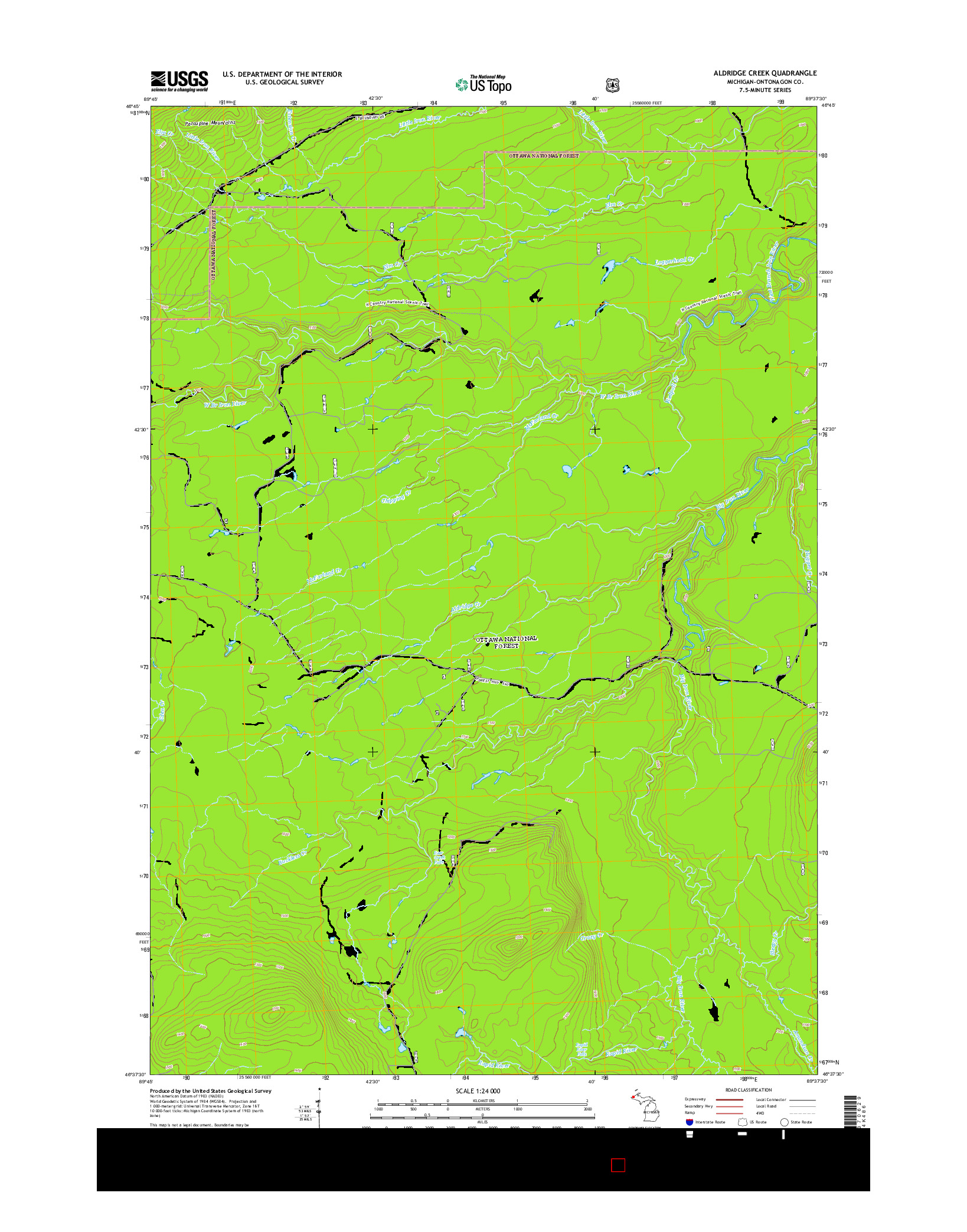 USGS US TOPO 7.5-MINUTE MAP FOR ALDRIDGE CREEK, MI 2014