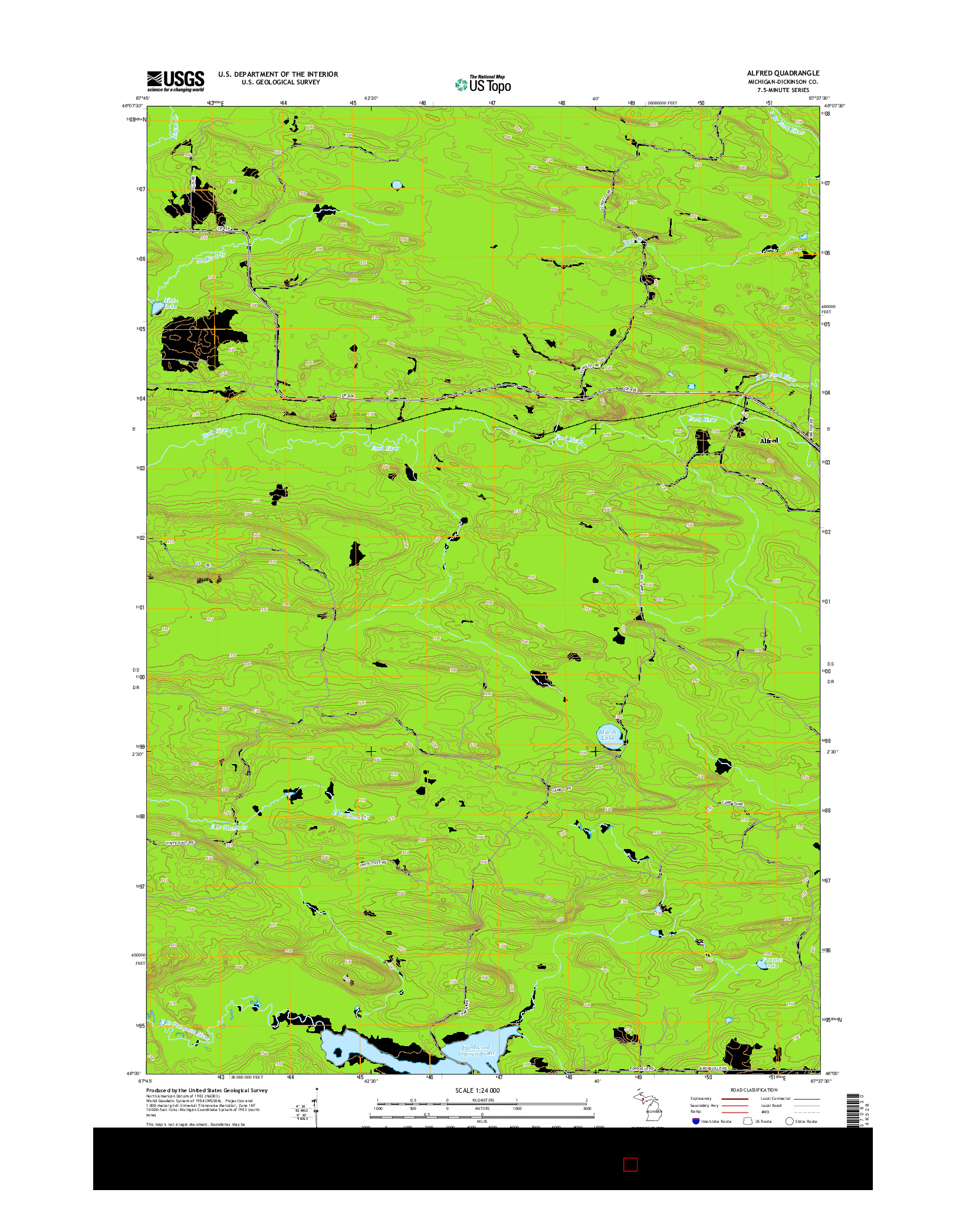 USGS US TOPO 7.5-MINUTE MAP FOR ALFRED, MI 2014