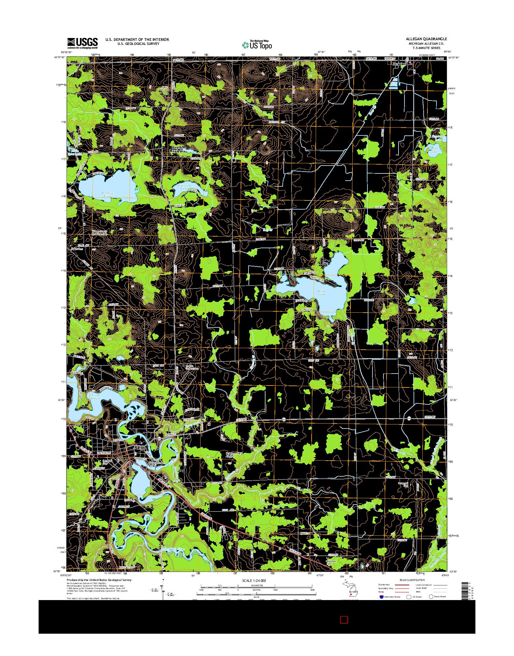 USGS US TOPO 7.5-MINUTE MAP FOR ALLEGAN, MI 2014