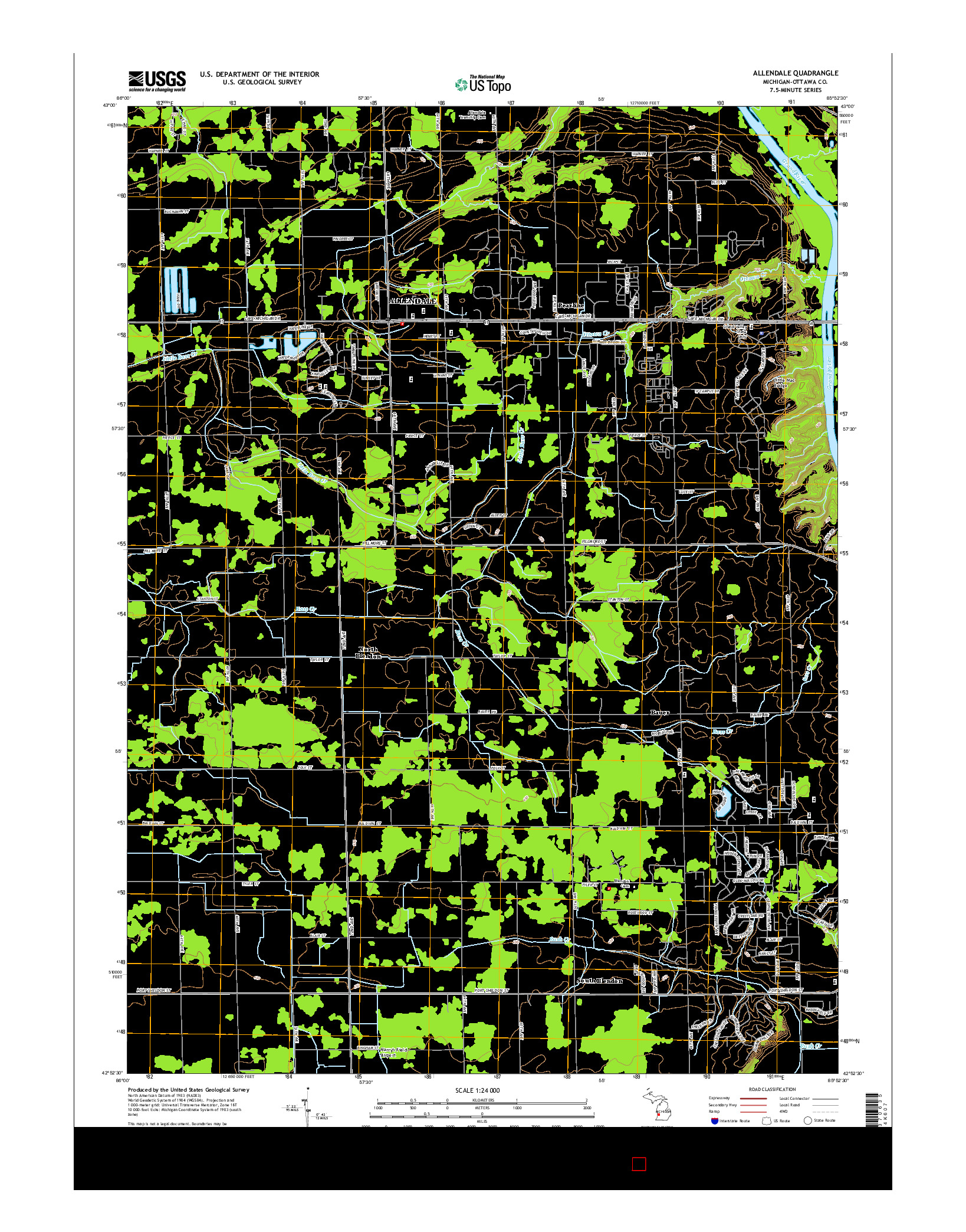 USGS US TOPO 7.5-MINUTE MAP FOR ALLENDALE, MI 2014