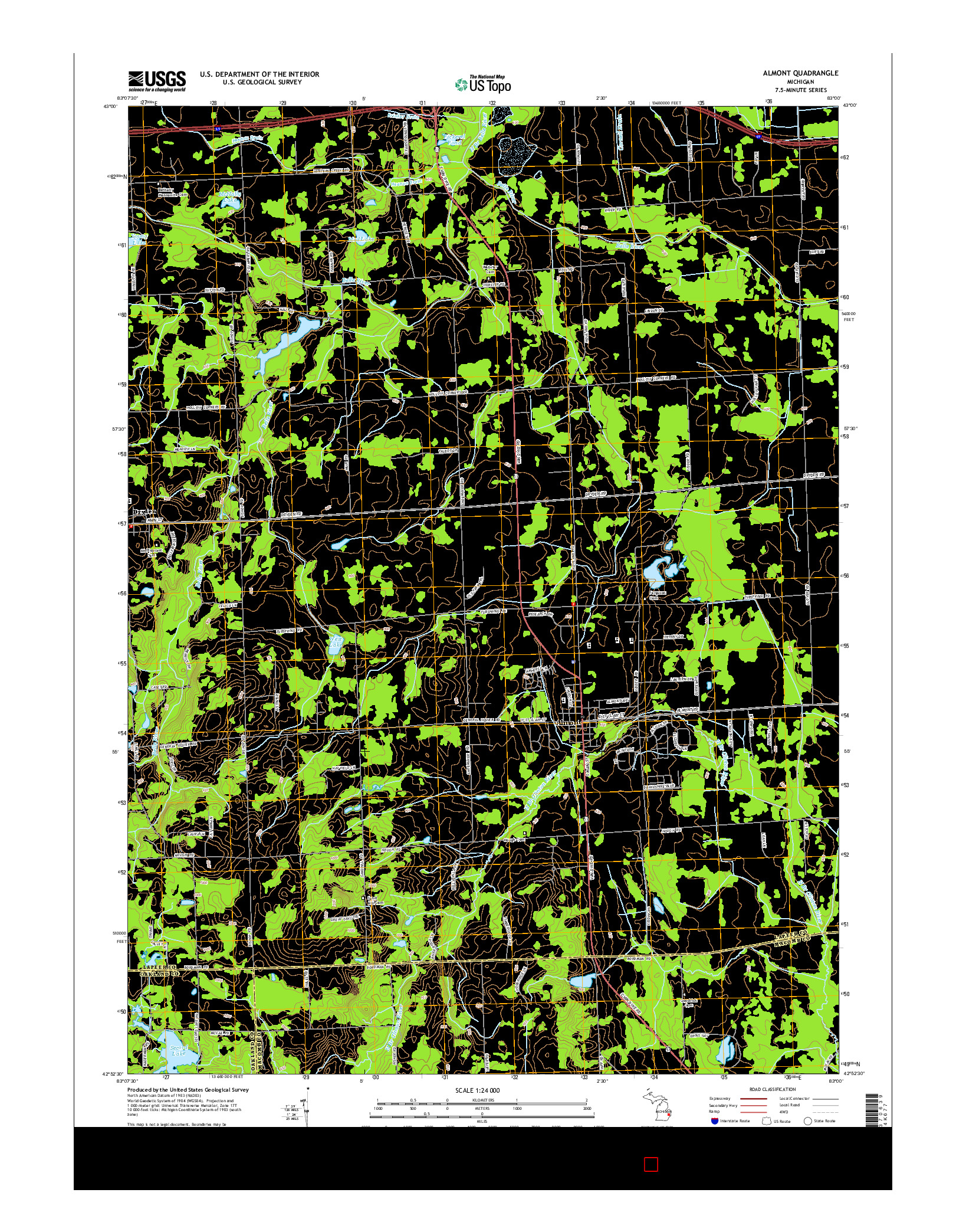 USGS US TOPO 7.5-MINUTE MAP FOR ALMONT, MI 2014