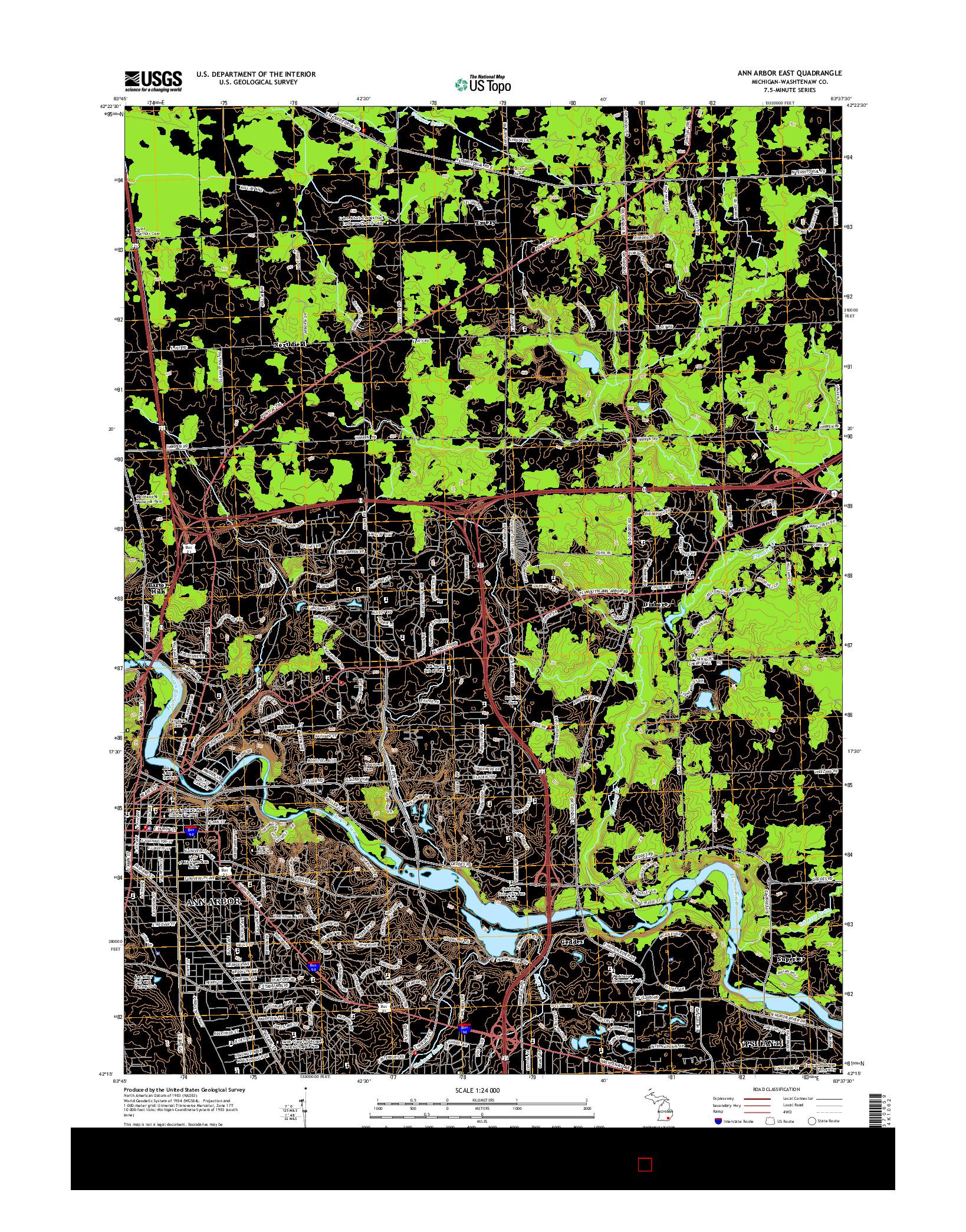 USGS US TOPO 7.5-MINUTE MAP FOR ANN ARBOR EAST, MI 2014