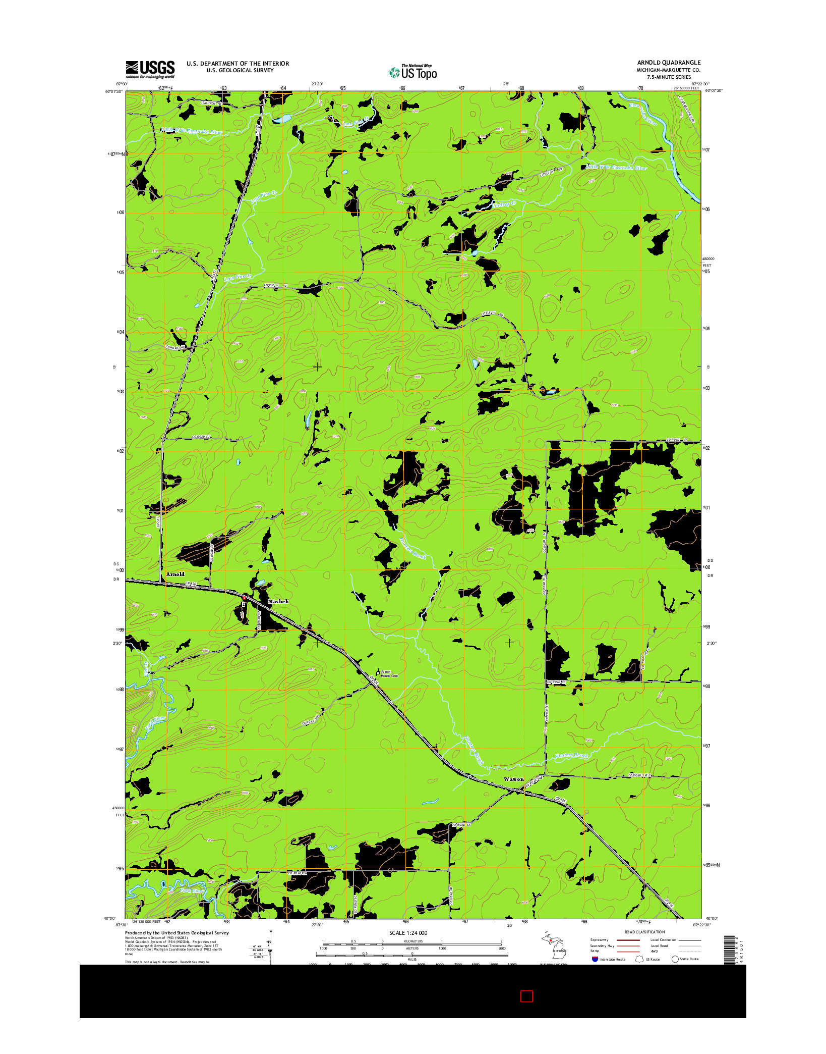 USGS US TOPO 7.5-MINUTE MAP FOR ARNOLD, MI 2014