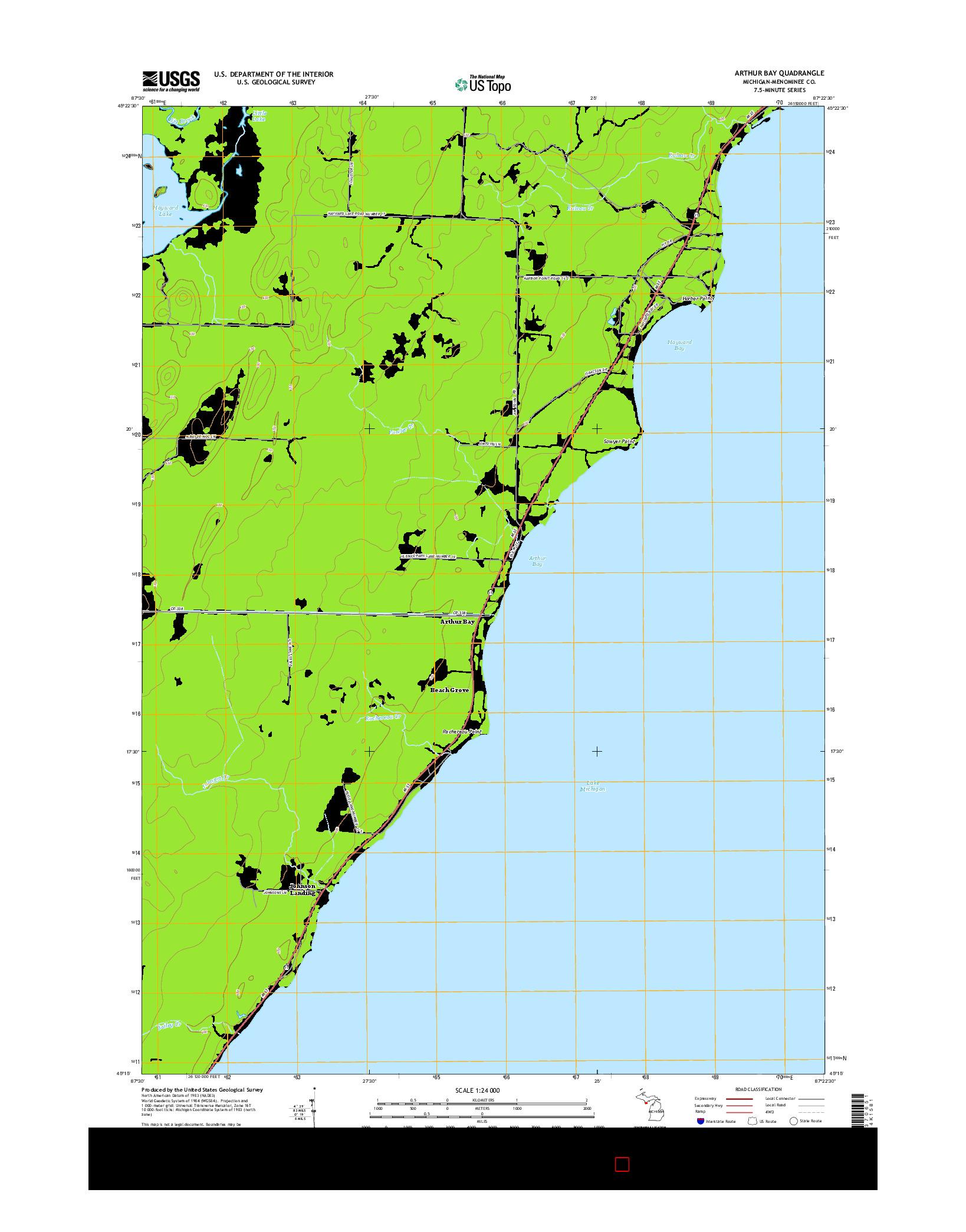 USGS US TOPO 7.5-MINUTE MAP FOR ARTHUR BAY, MI 2014