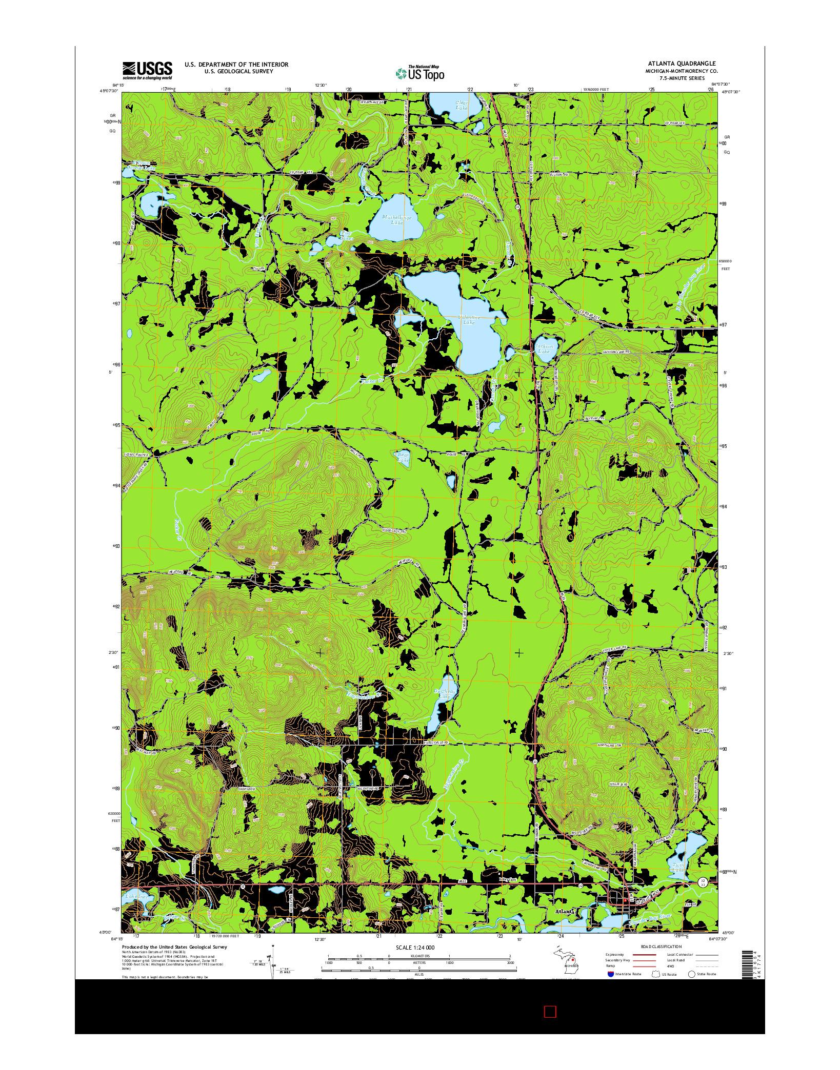 USGS US TOPO 7.5-MINUTE MAP FOR ATLANTA, MI 2014
