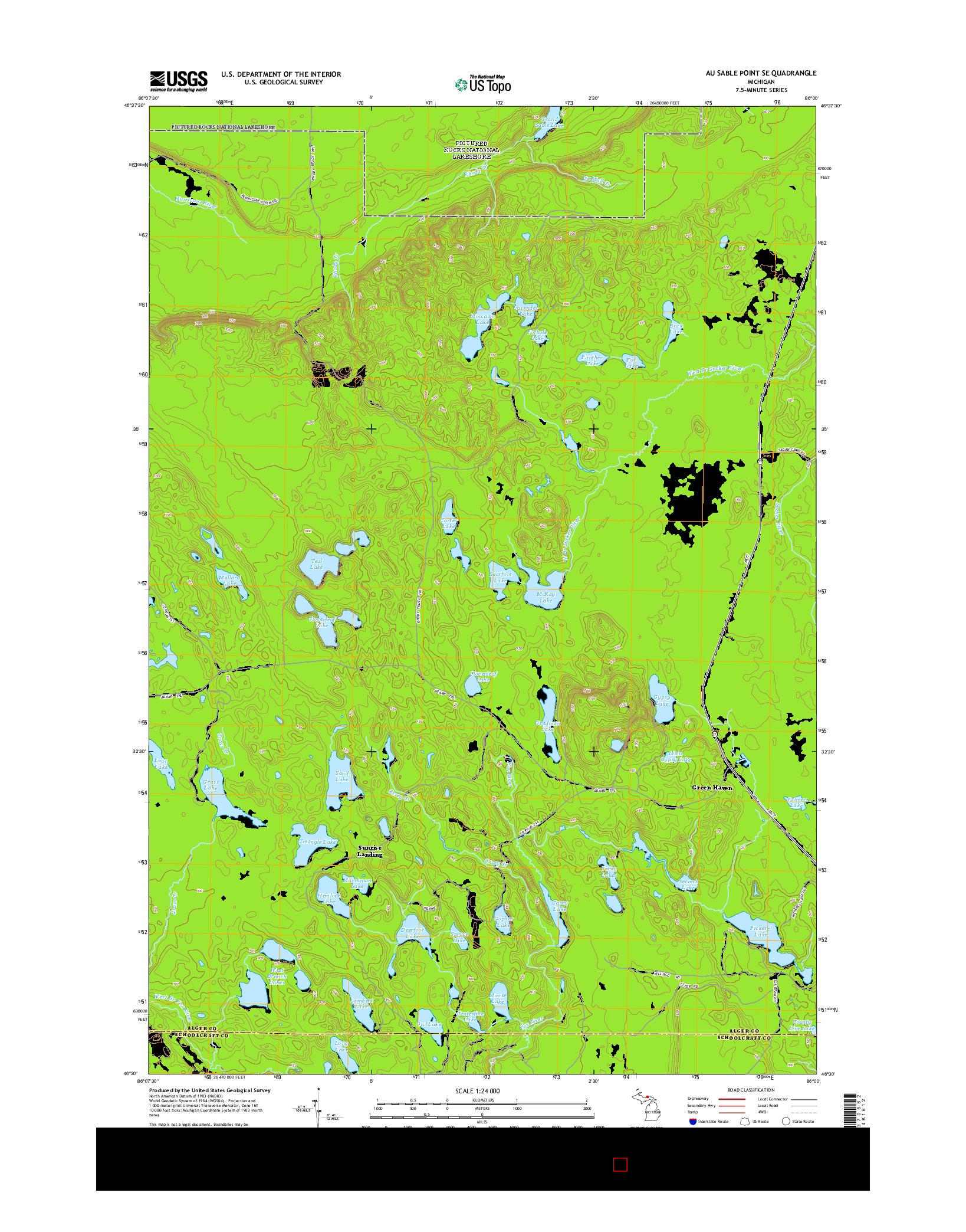 USGS US TOPO 7.5-MINUTE MAP FOR AU SABLE POINT SE, MI 2014