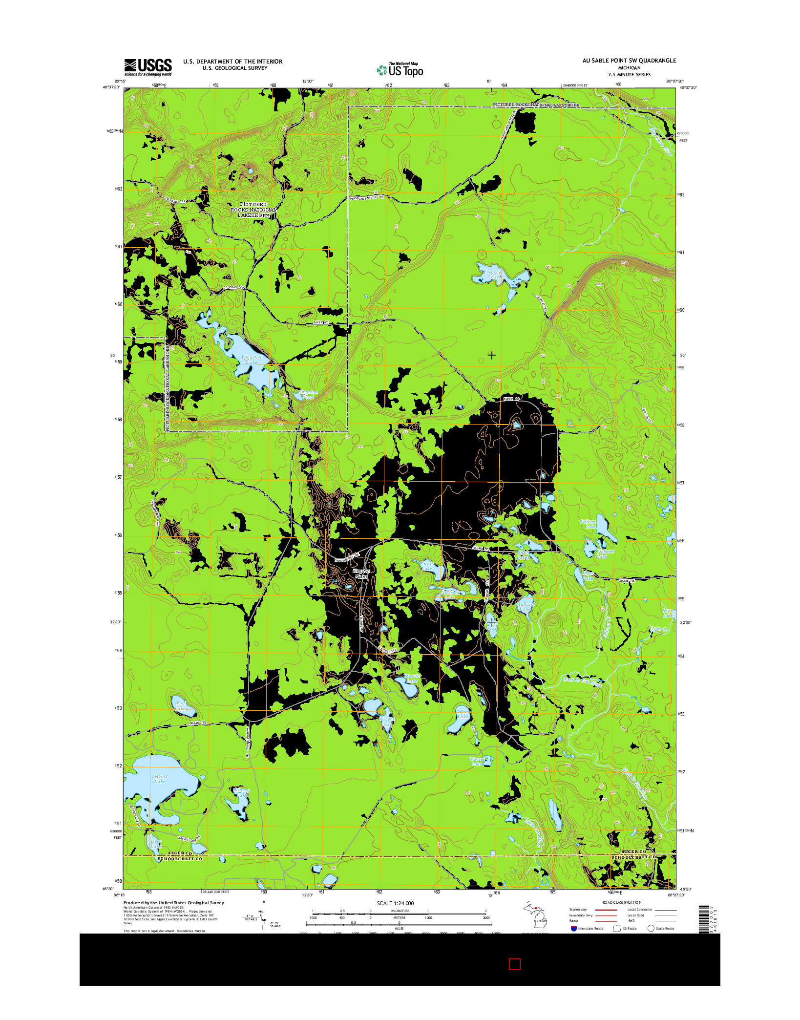 USGS US TOPO 7.5-MINUTE MAP FOR AU SABLE POINT SW, MI 2014