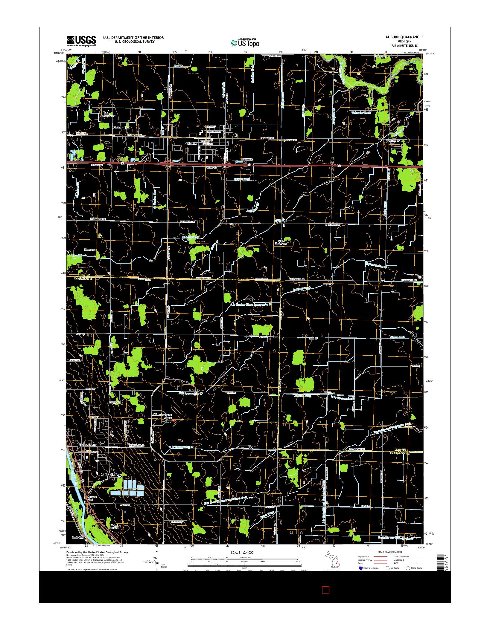 USGS US TOPO 7.5-MINUTE MAP FOR AUBURN, MI 2014