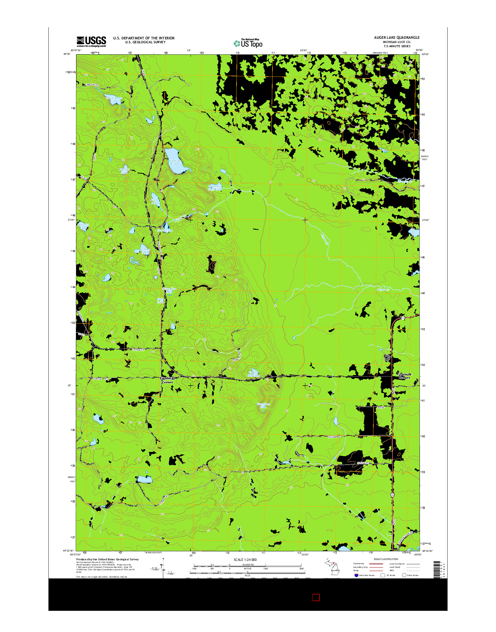 USGS US TOPO 7.5-MINUTE MAP FOR AUGER LAKE, MI 2014