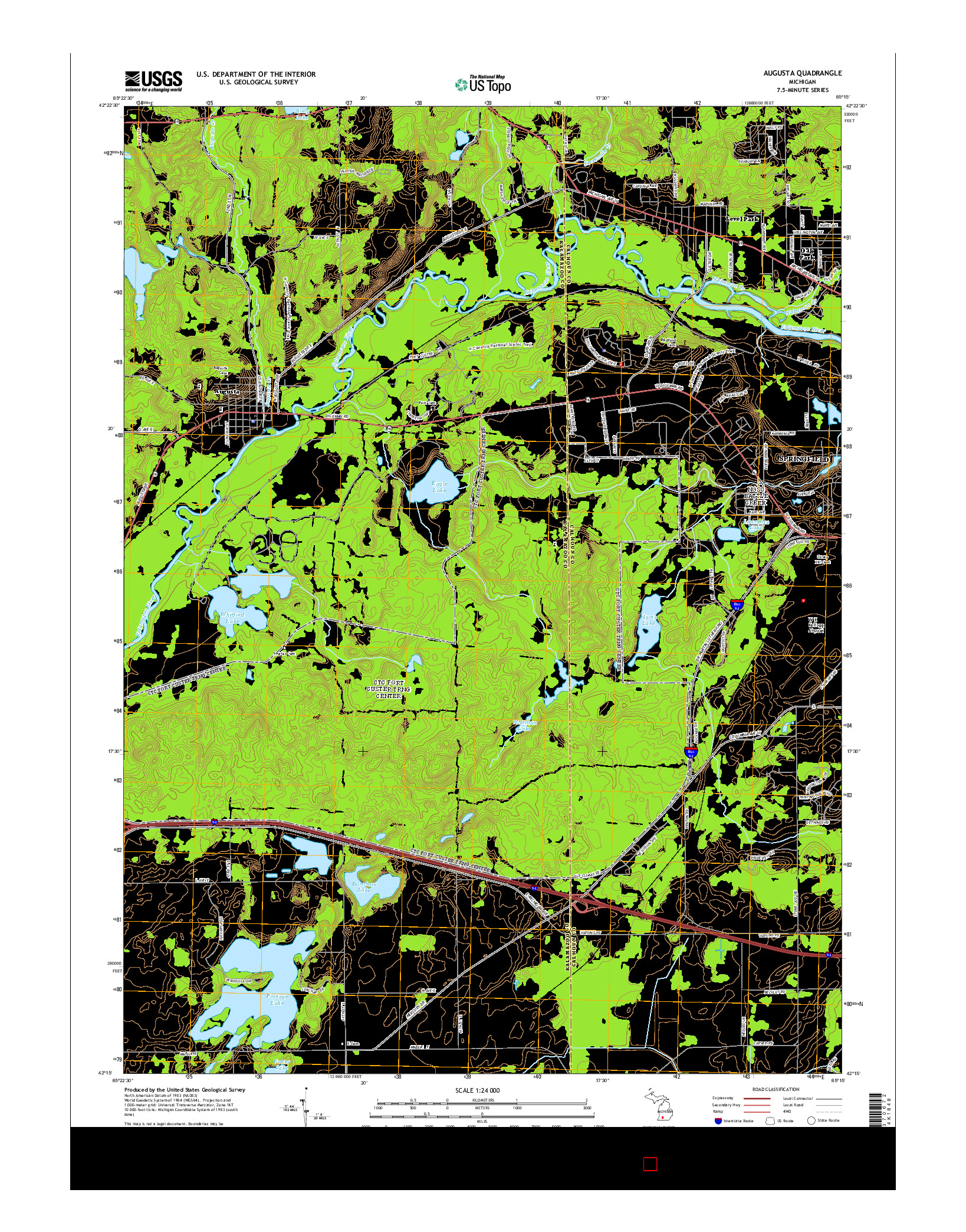 USGS US TOPO 7.5-MINUTE MAP FOR AUGUSTA, MI 2014