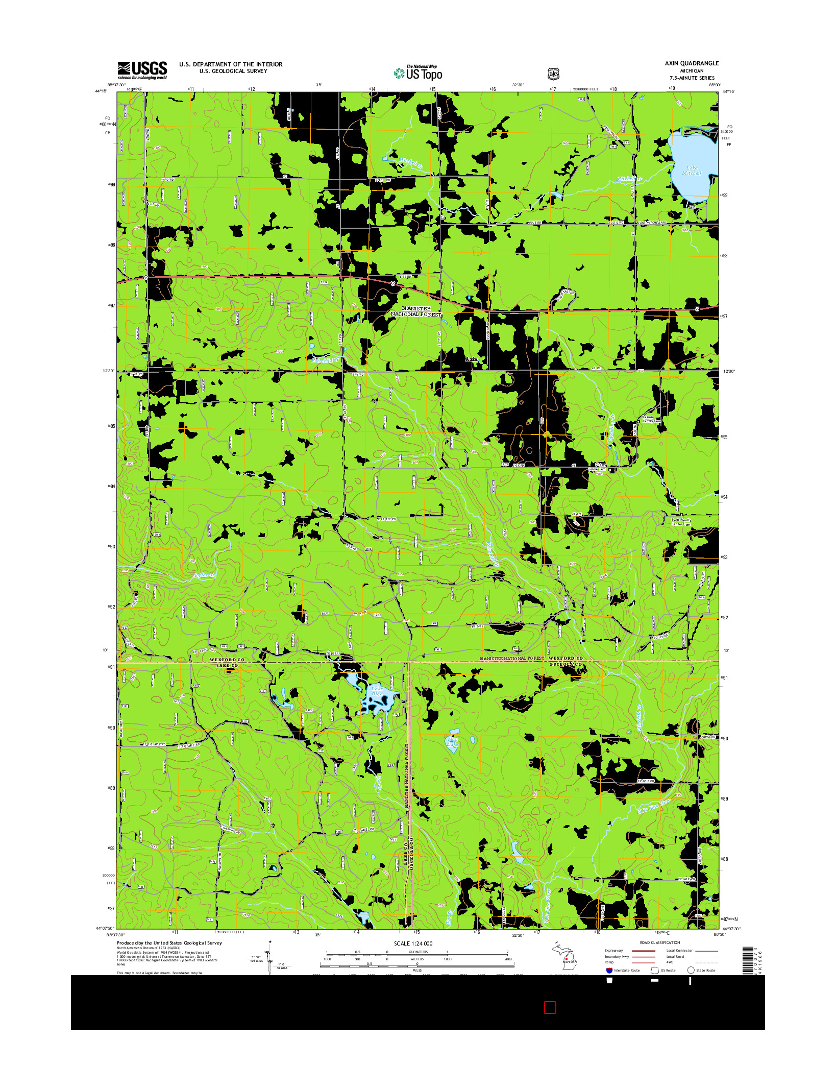 USGS US TOPO 7.5-MINUTE MAP FOR AXIN, MI 2014
