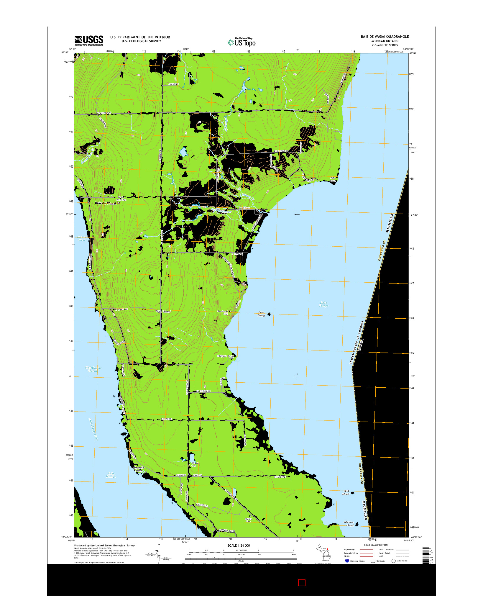USGS US TOPO 7.5-MINUTE MAP FOR BAIE DE WASAI, MI-ON 2014