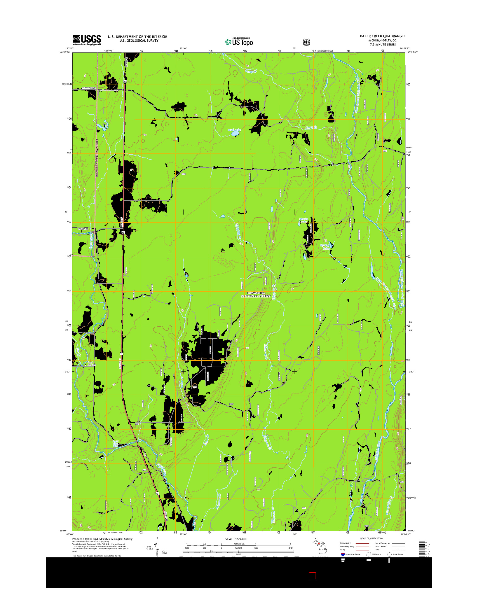 USGS US TOPO 7.5-MINUTE MAP FOR BAKER CREEK, MI 2014