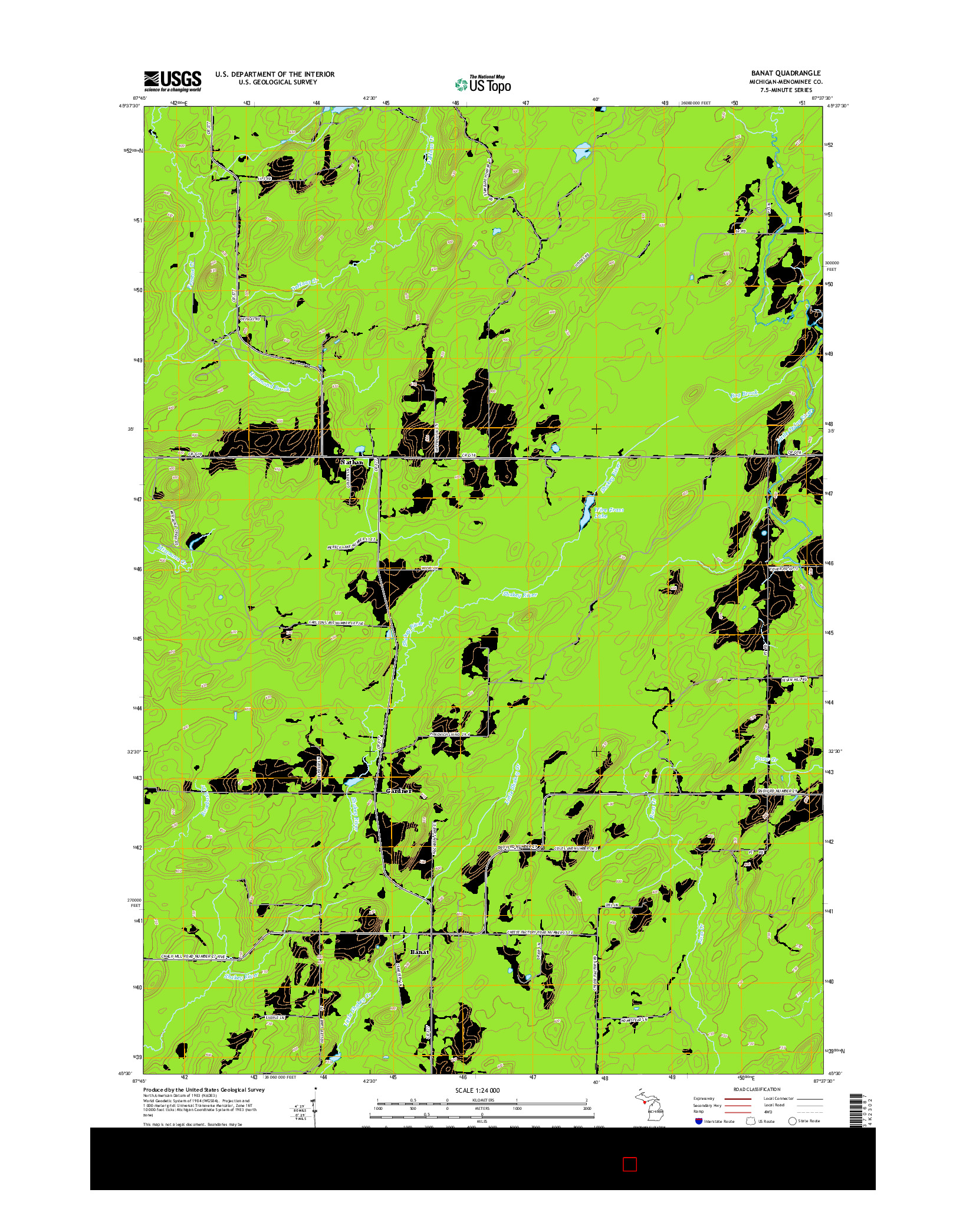 USGS US TOPO 7.5-MINUTE MAP FOR BANAT, MI 2014
