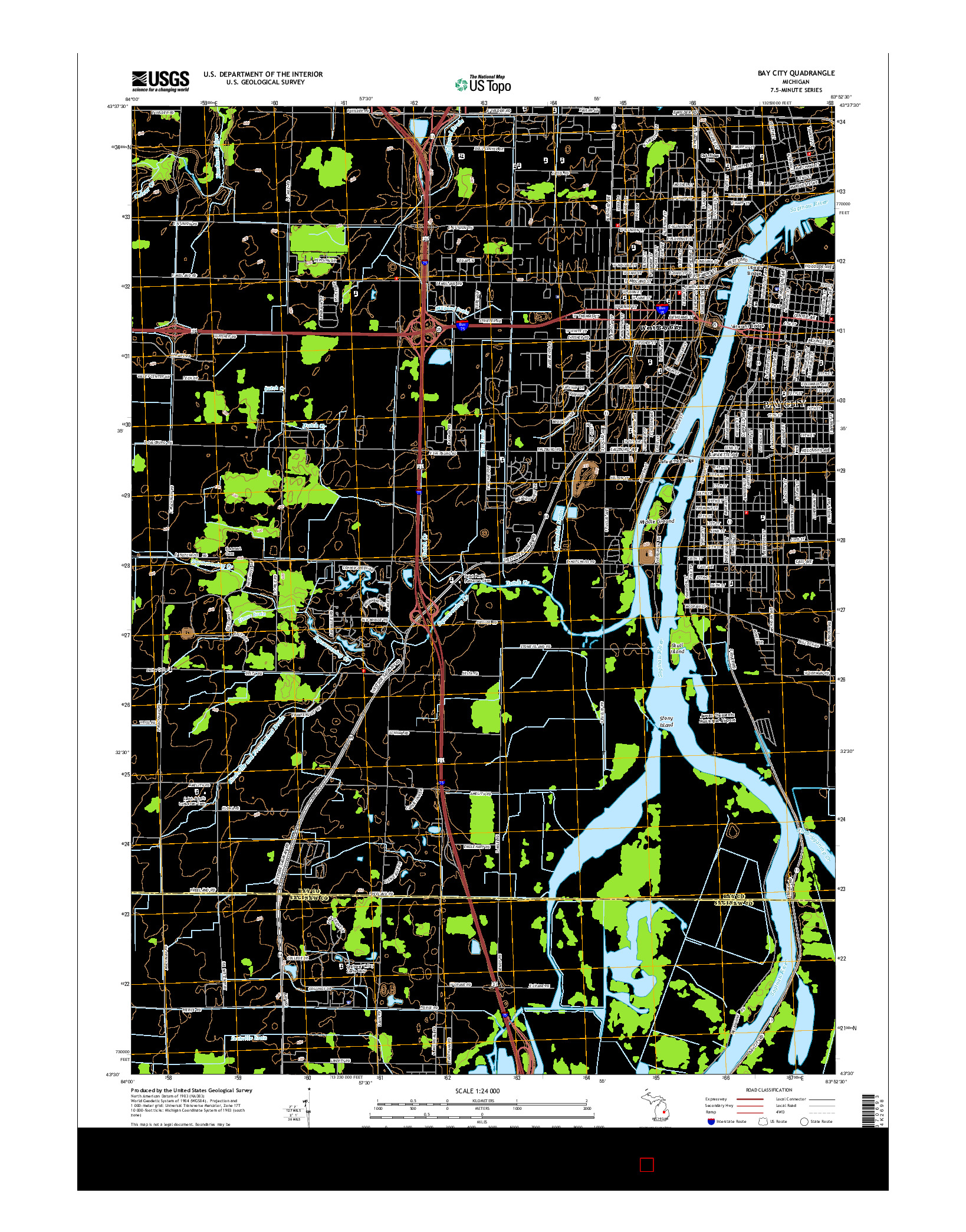 USGS US TOPO 7.5-MINUTE MAP FOR BAY CITY, MI 2014