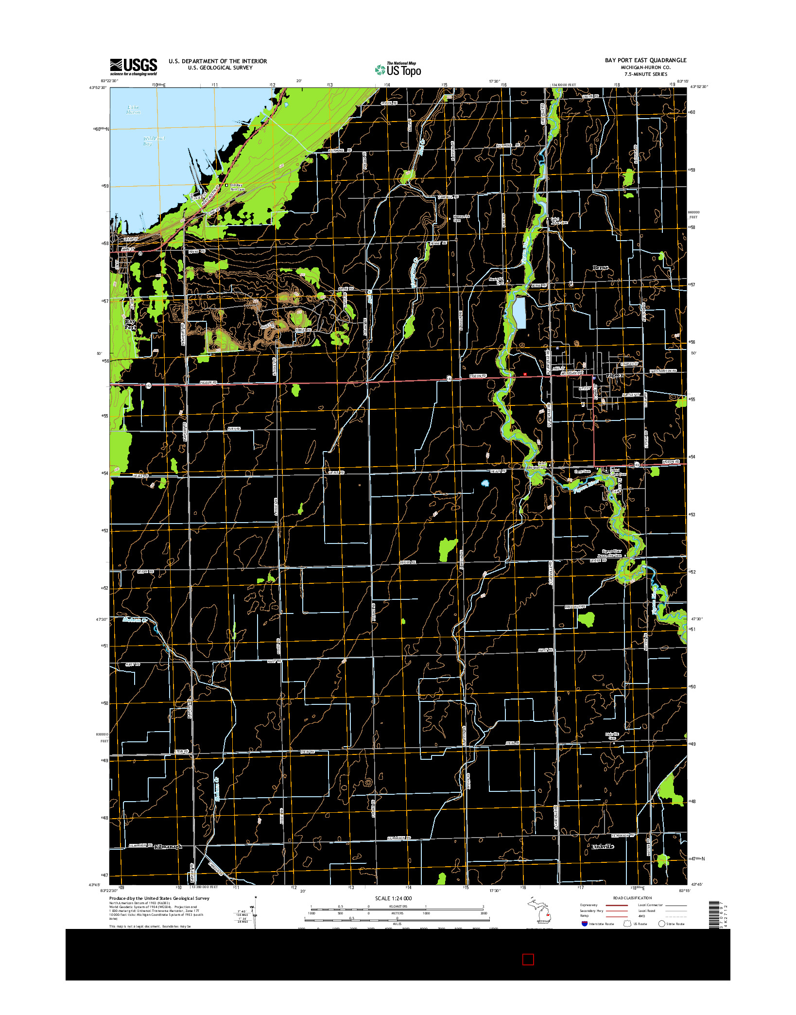 USGS US TOPO 7.5-MINUTE MAP FOR BAY PORT EAST, MI 2014