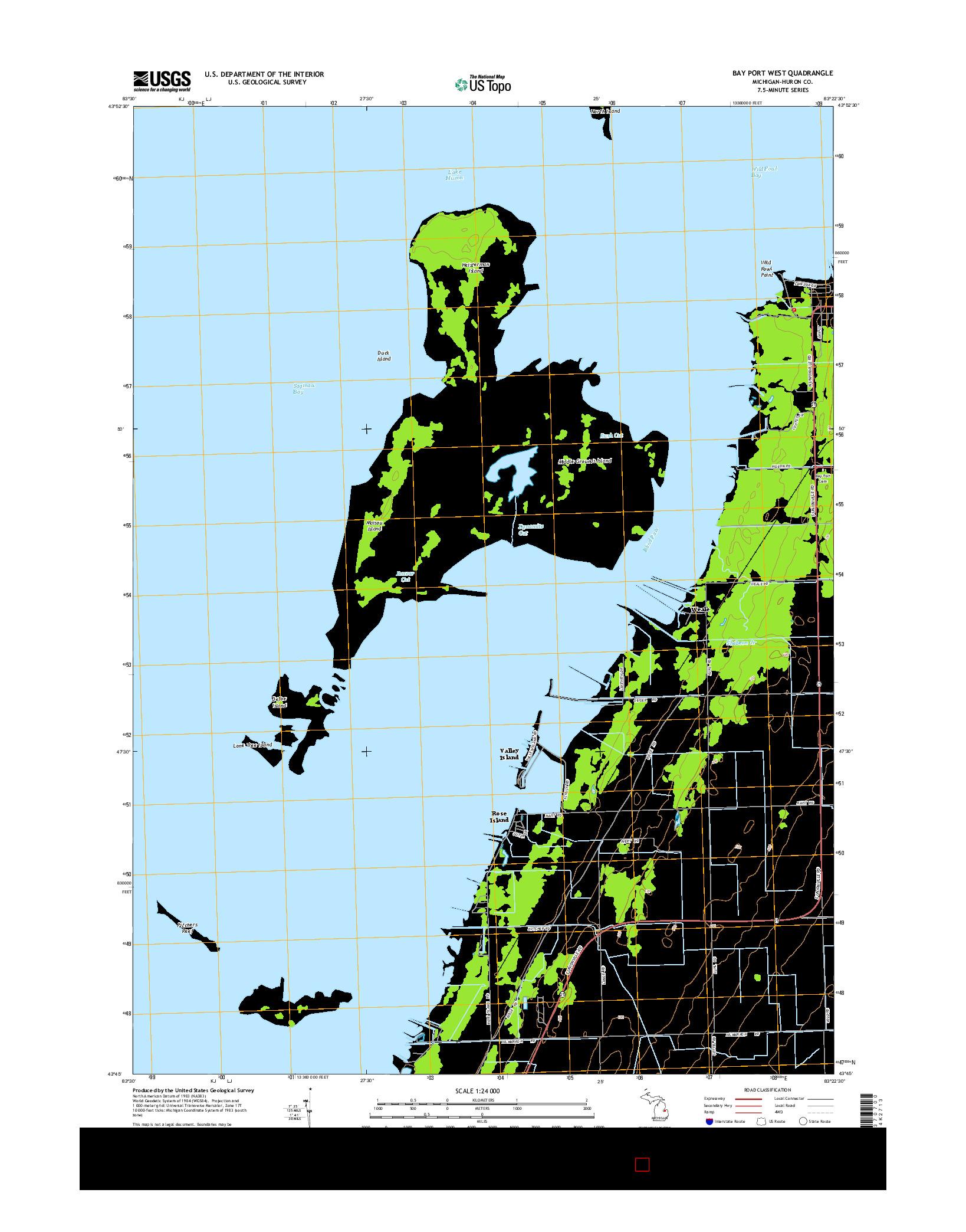 USGS US TOPO 7.5-MINUTE MAP FOR BAY PORT WEST, MI 2014