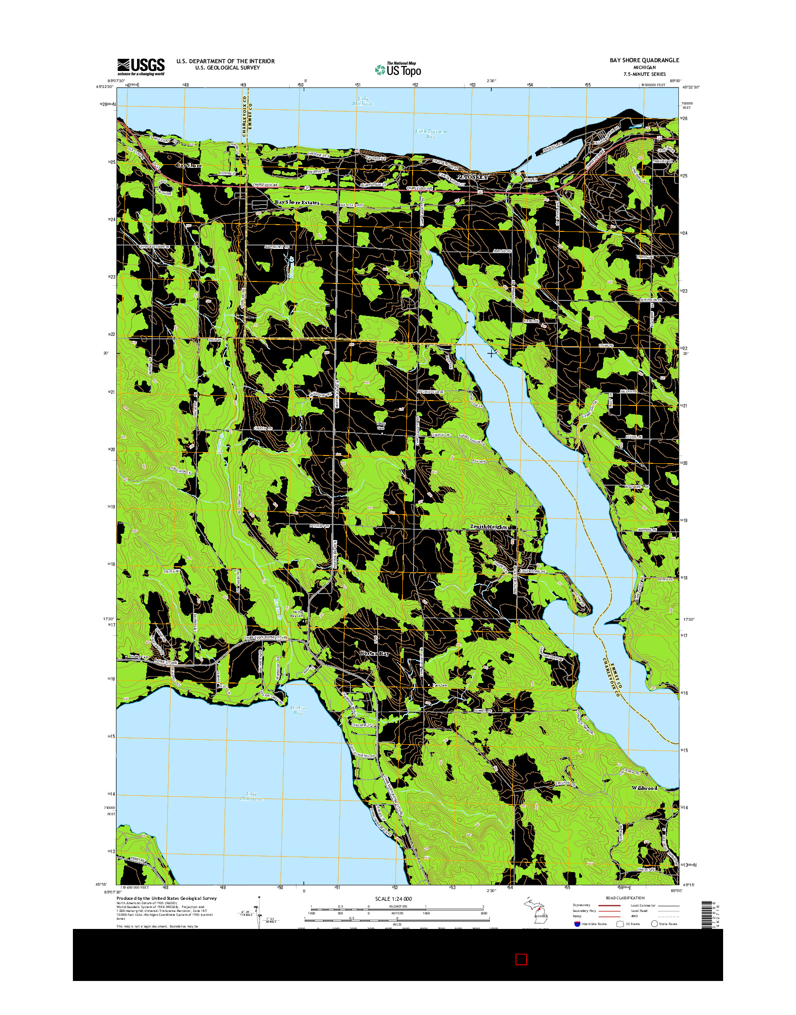USGS US TOPO 7.5-MINUTE MAP FOR BAY SHORE, MI 2014